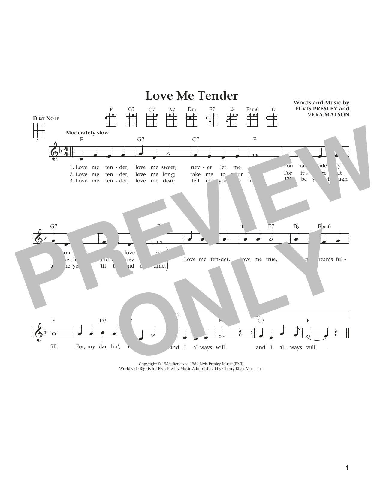 Love Me Tender (from The Daily Ukulele) (arr. Liz and Jim Beloff) (Ukulele)