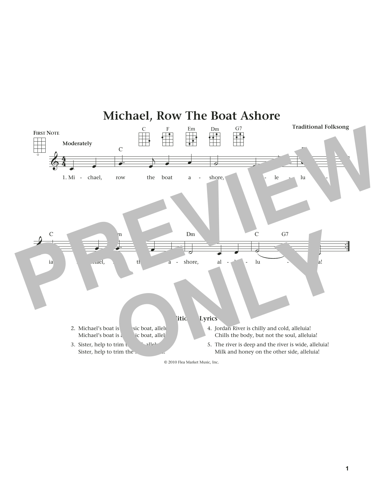 Michael Row The Boat Ashore (from The Daily Ukulele) (arr. Liz and Jim Beloff) (Ukulele)