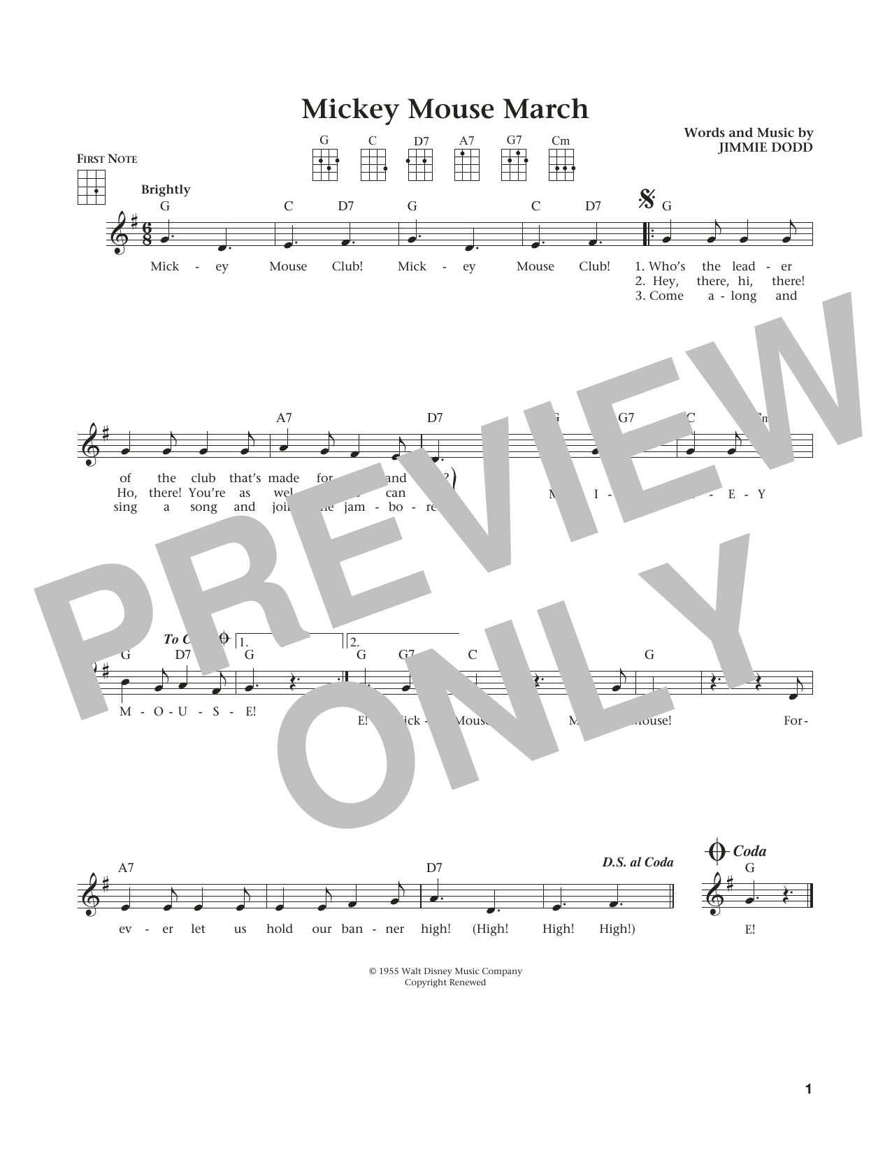 Mickey Mouse March (from The Daily Ukulele) (arr. Liz and Jim Beloff) (Ukulele)