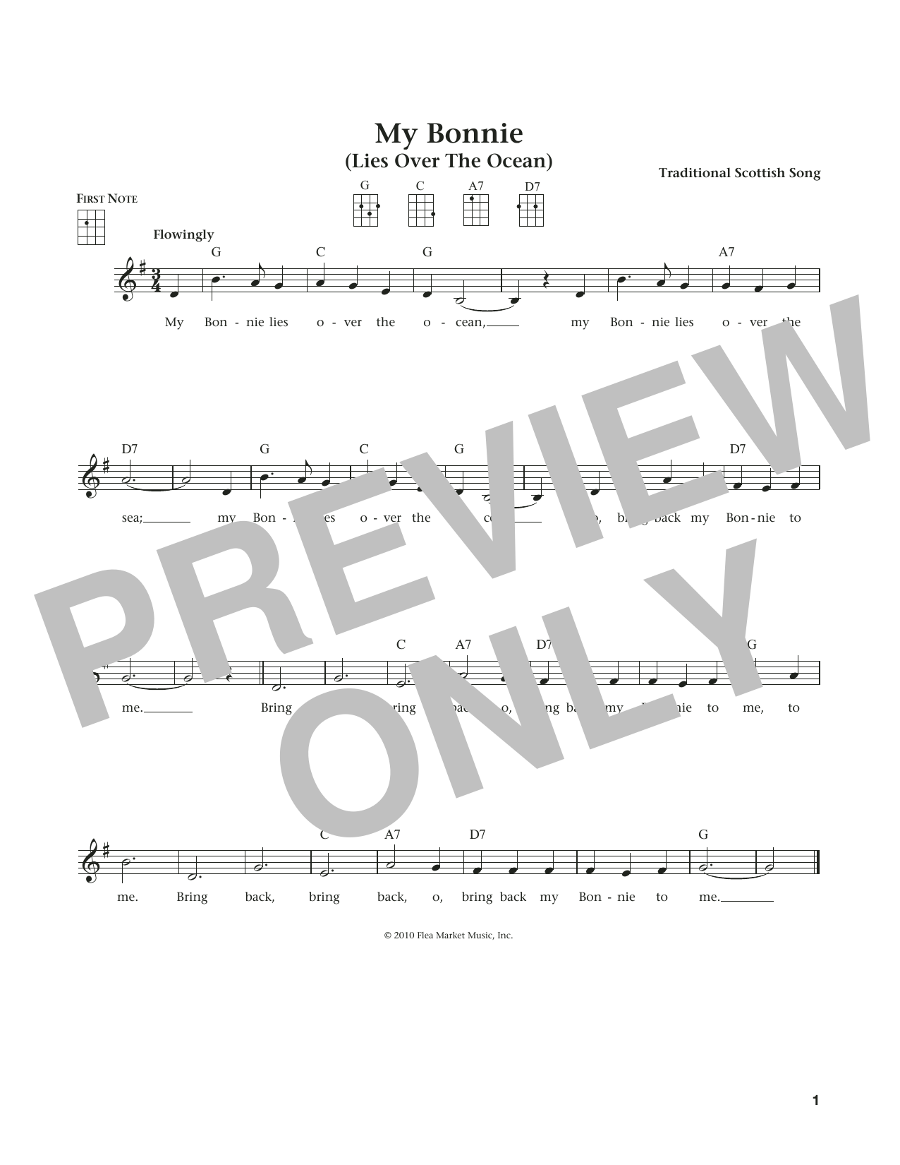 My Bonnie Lies Over The Ocean (from The Daily Ukulele) (arr. Liz and Jim Beloff) (Ukulele)