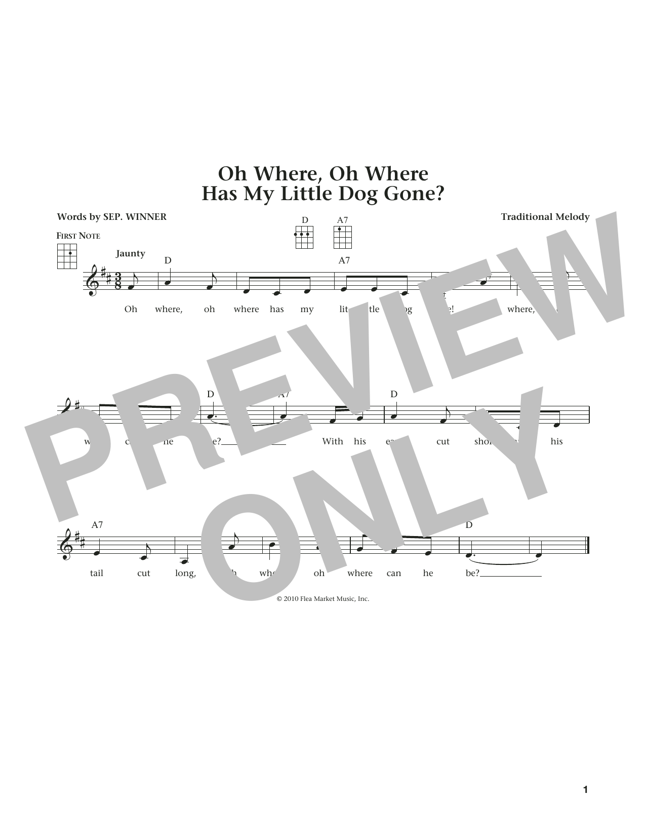 Oh Where, Oh Where Has My Little Dog Gone (from The Daily Ukulele) (arr. Liz and Jim Beloff) (Ukulele)