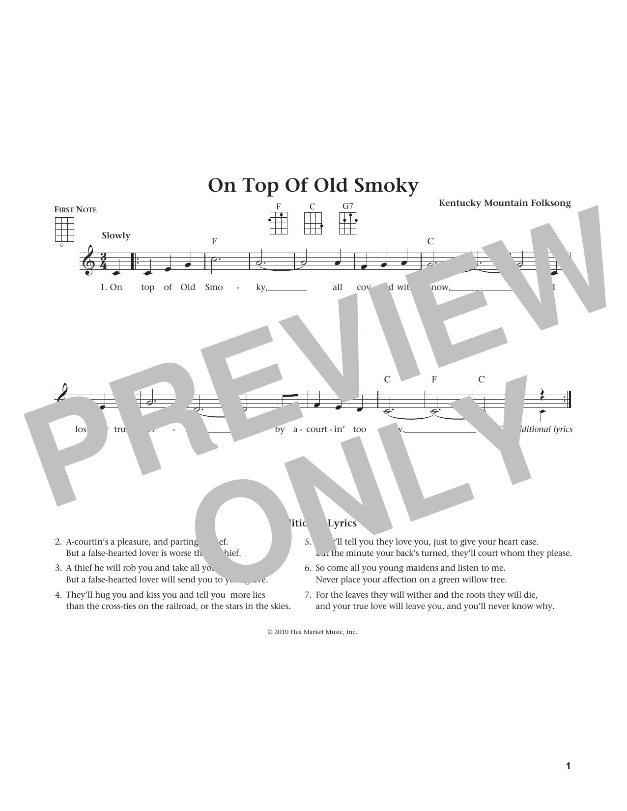 On Top Of Old Smoky (from The Daily Ukulele) (arr. Liz and Jim Beloff) (Ukulele)