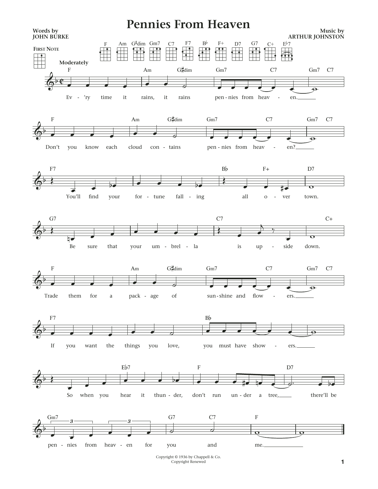 Pennies From Heaven (from The Daily Ukulele) (arr. Liz and Jim Beloff) (Ukulele)
