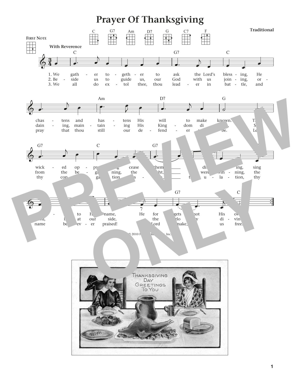 Prayer Of Thanksgiving (from The Daily Ukulele) (arr. Liz and Jim Beloff) (Ukulele)