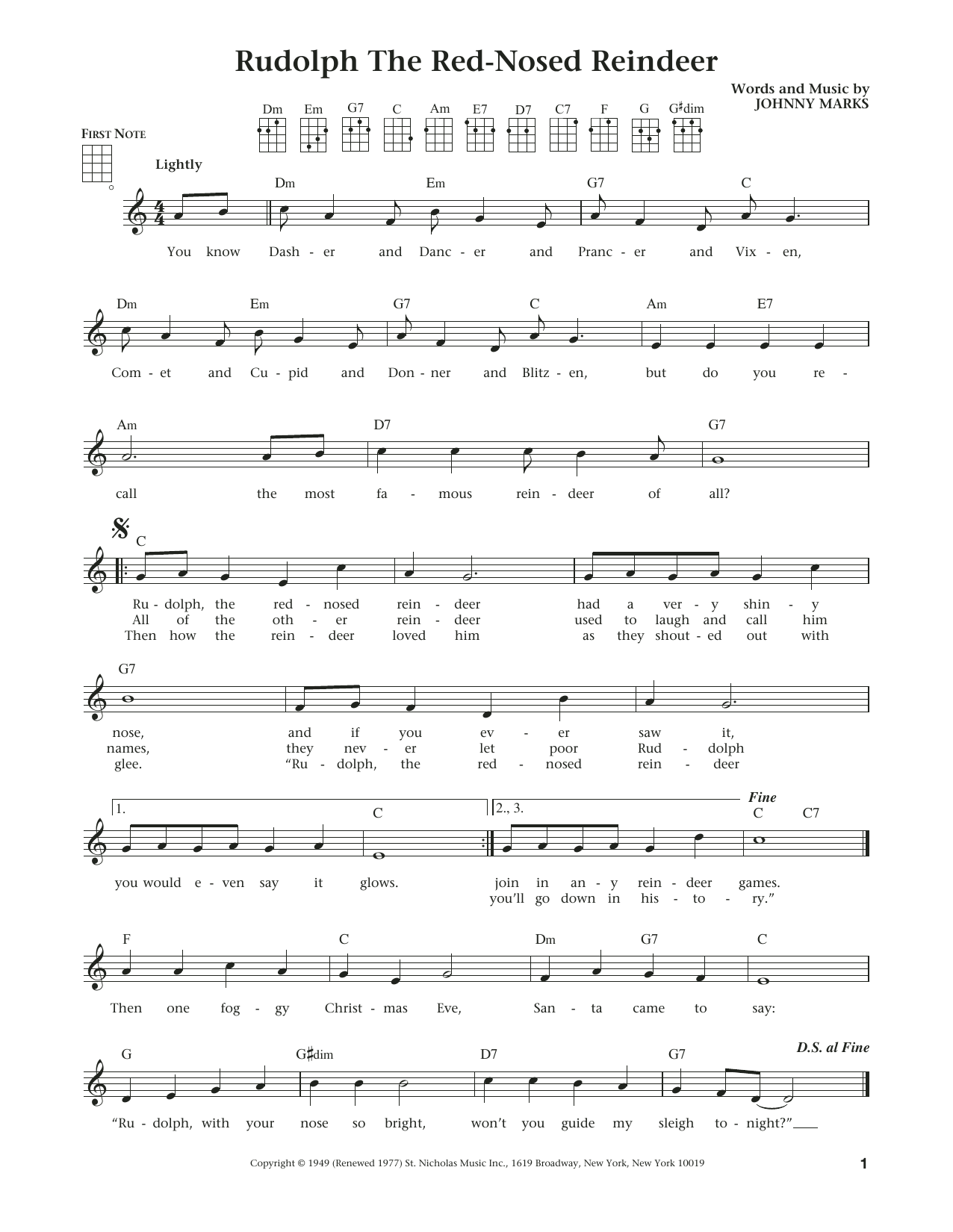 Rudolph The Red-Nosed Reindeer (from The Daily Ukulele) (arr. Liz and Jim Beloff) (Ukulele)