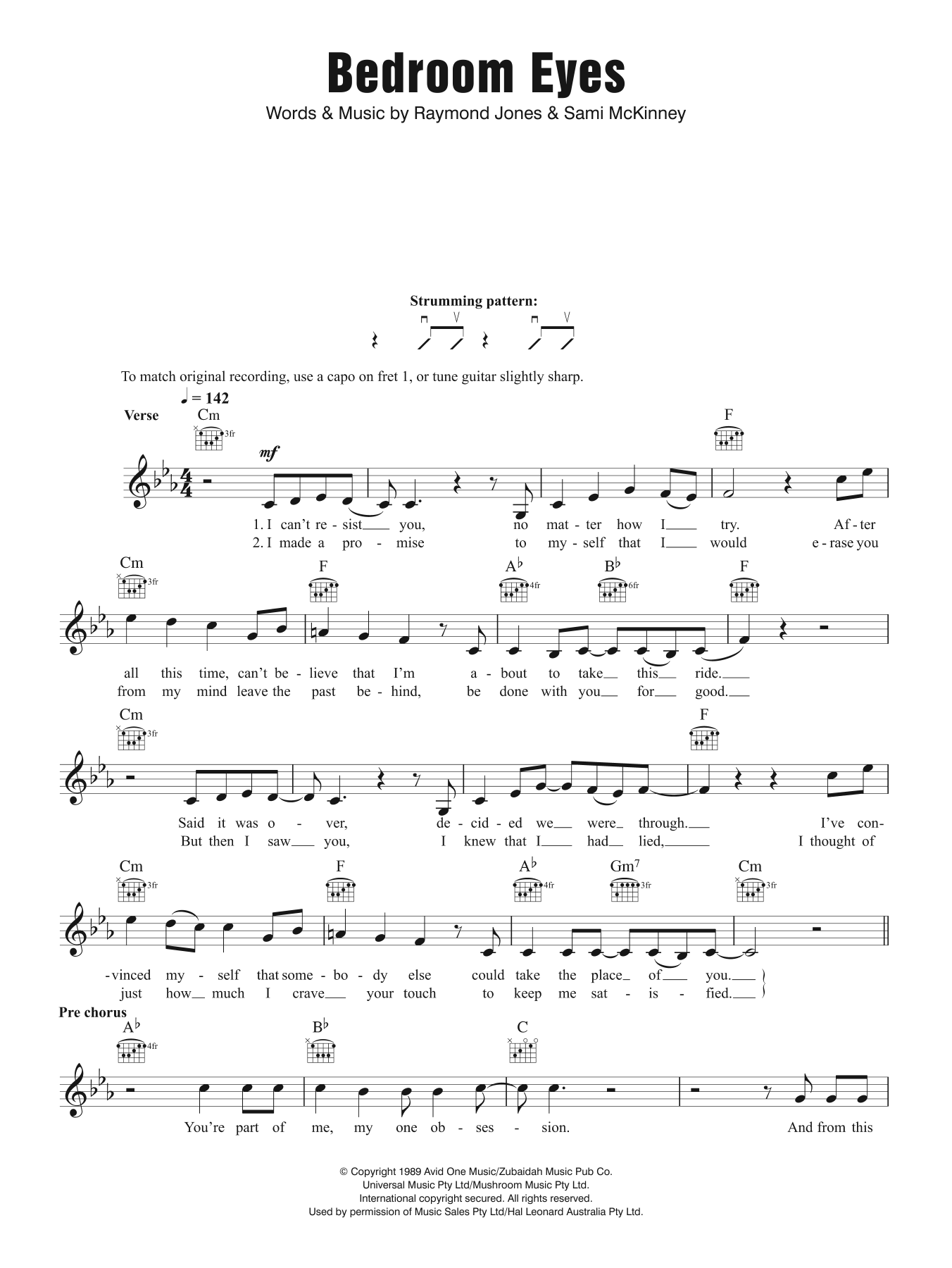 Bedroom Eyes Sheet Music