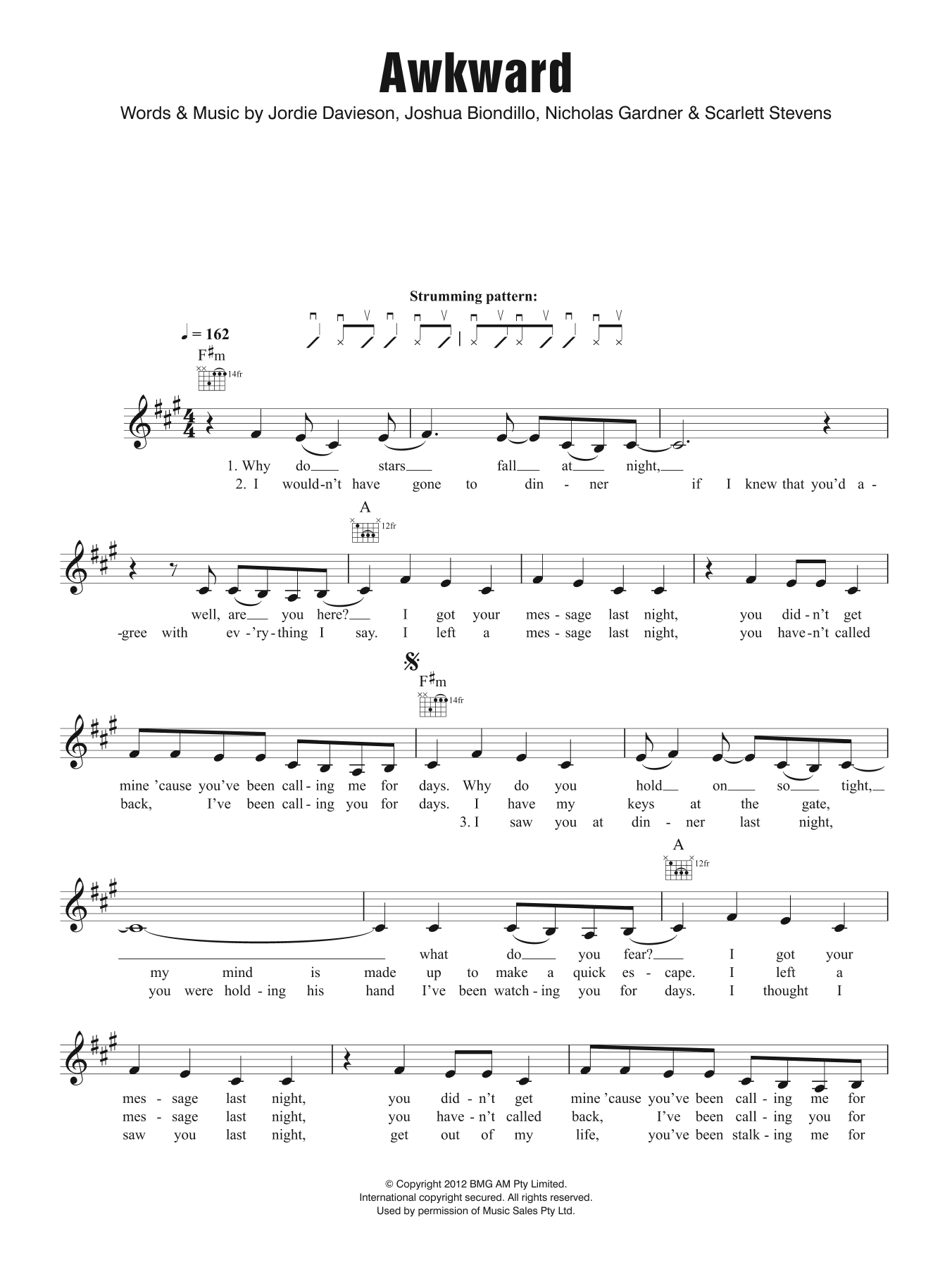 Awkward Sheet Music