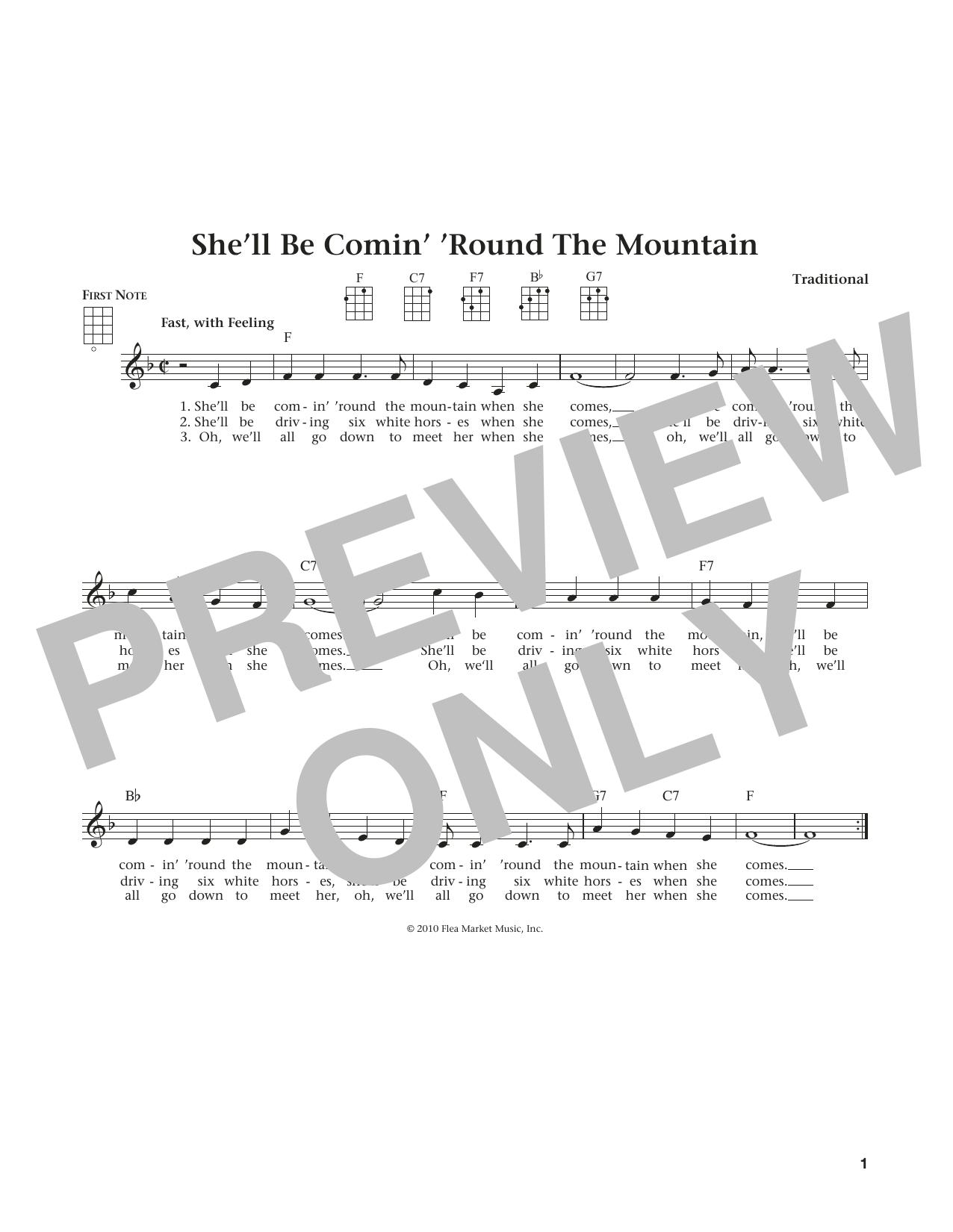 She'll Be Comin' 'Round The Mountain (from The Daily Ukulele) (arr. Liz and Jim Beloff) (Ukulele)