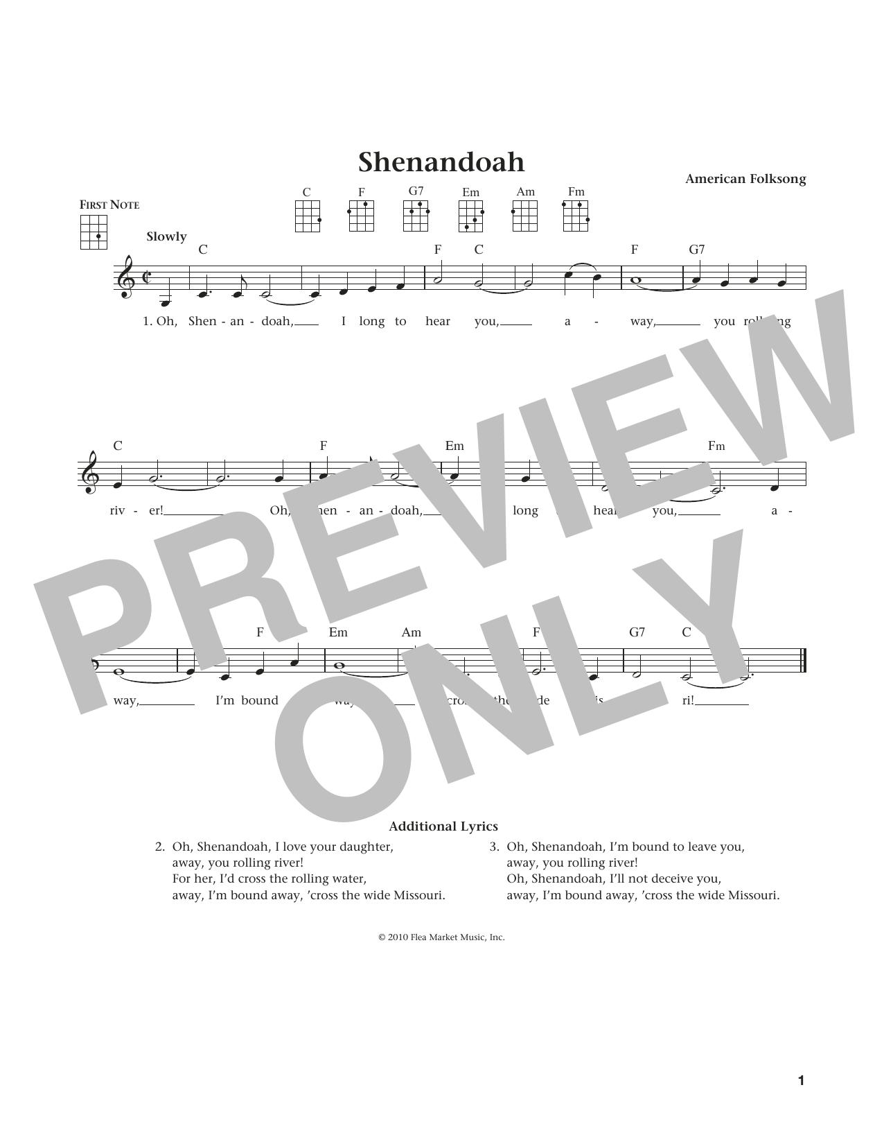 Shenandoah (from The Daily Ukulele) (arr. Liz and Jim Beloff) (Ukulele)