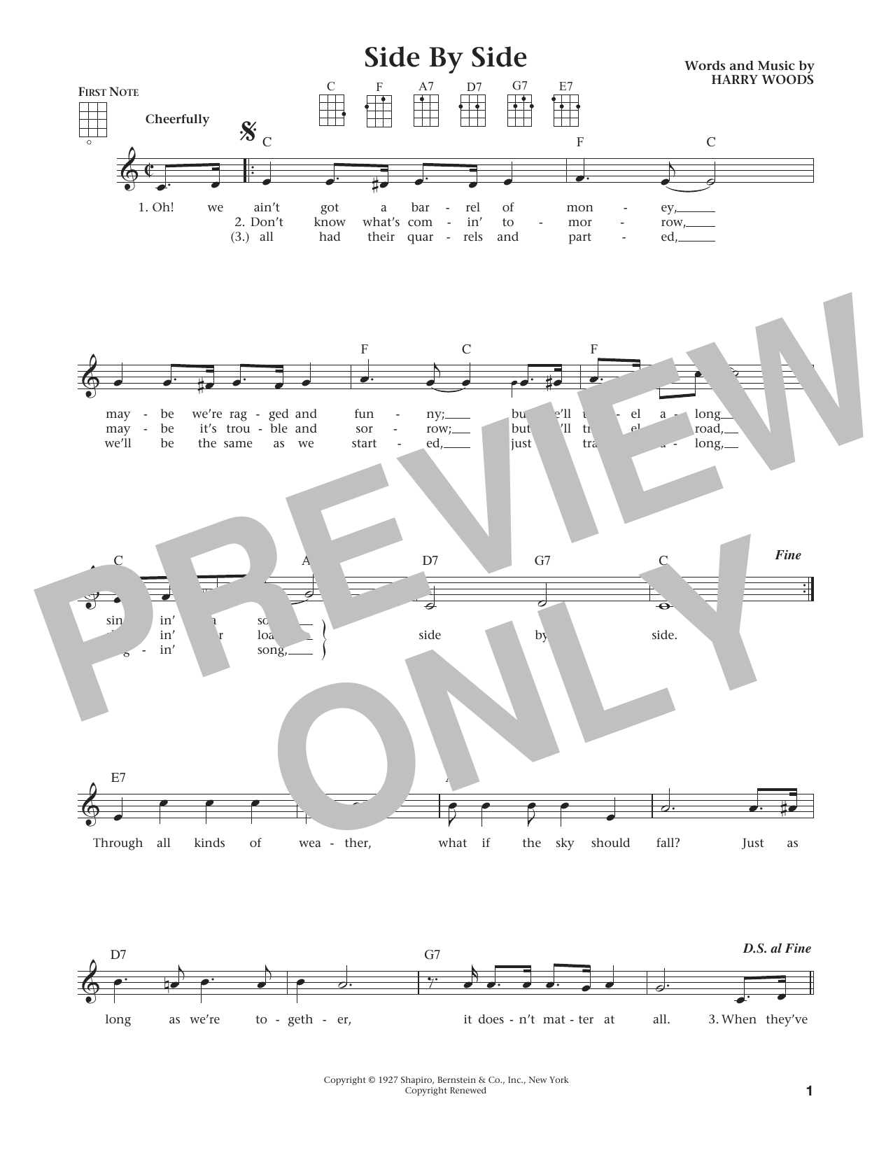 Side By Side (from The Daily Ukulele) (arr. Liz and Jim Beloff) (Ukulele)