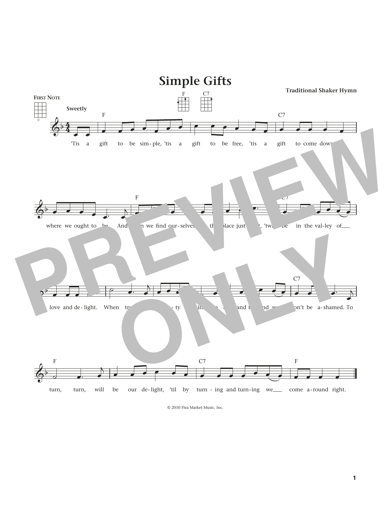 Simple Gifts (from The Daily Ukulele) (arr. Liz and Jim Beloff) (Ukulele)