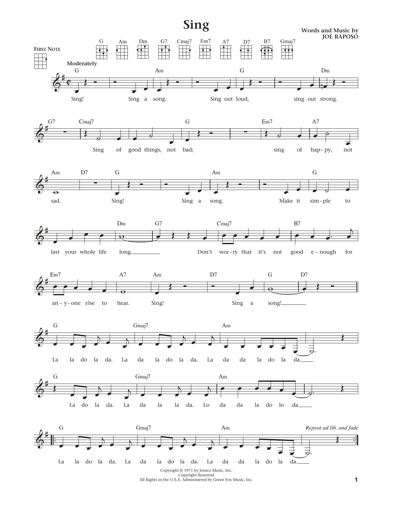 Sing (from The Daily Ukulele) (arr. Liz and Jim Beloff) (Ukulele)