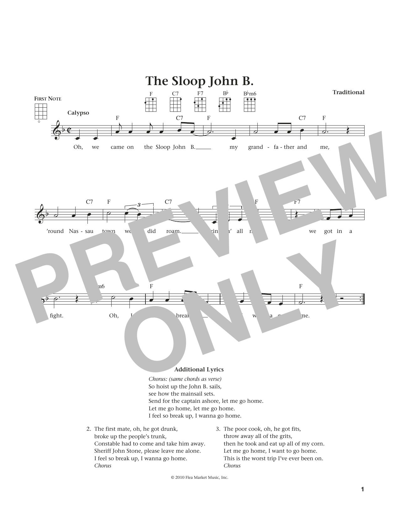 Sloop John B. (from The Daily Ukulele) (arr. Liz and Jim Beloff) (Ukulele)
