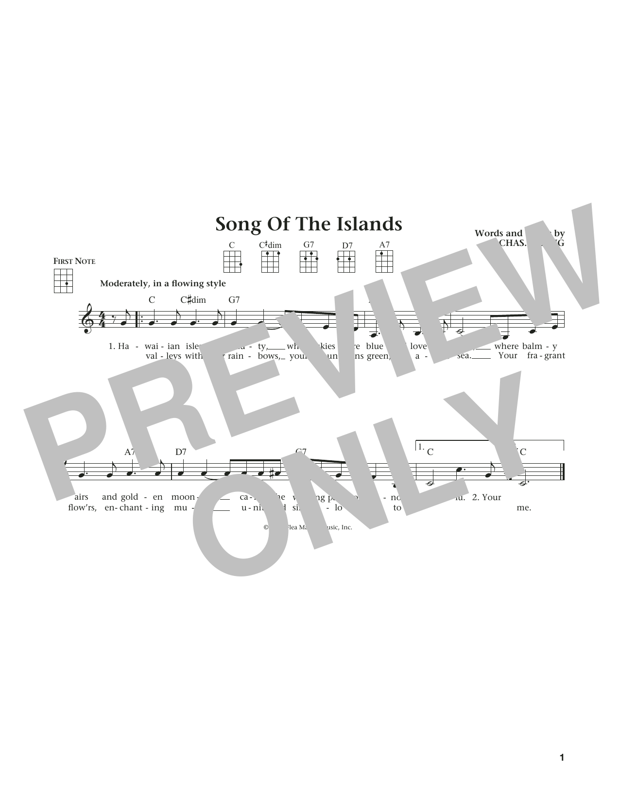Song Of The Islands (from The Daily Ukulele) (arr. Liz and Jim Beloff) (Ukulele)