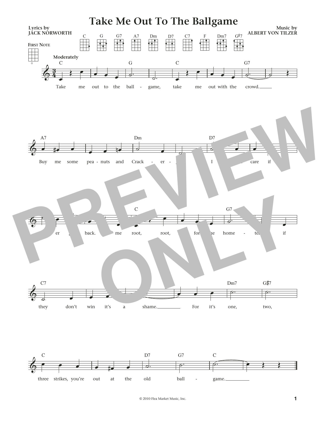 Take Me Out To The Ball Game (from The Daily Ukulele) (arr. Liz and Jim Beloff) (Ukulele)