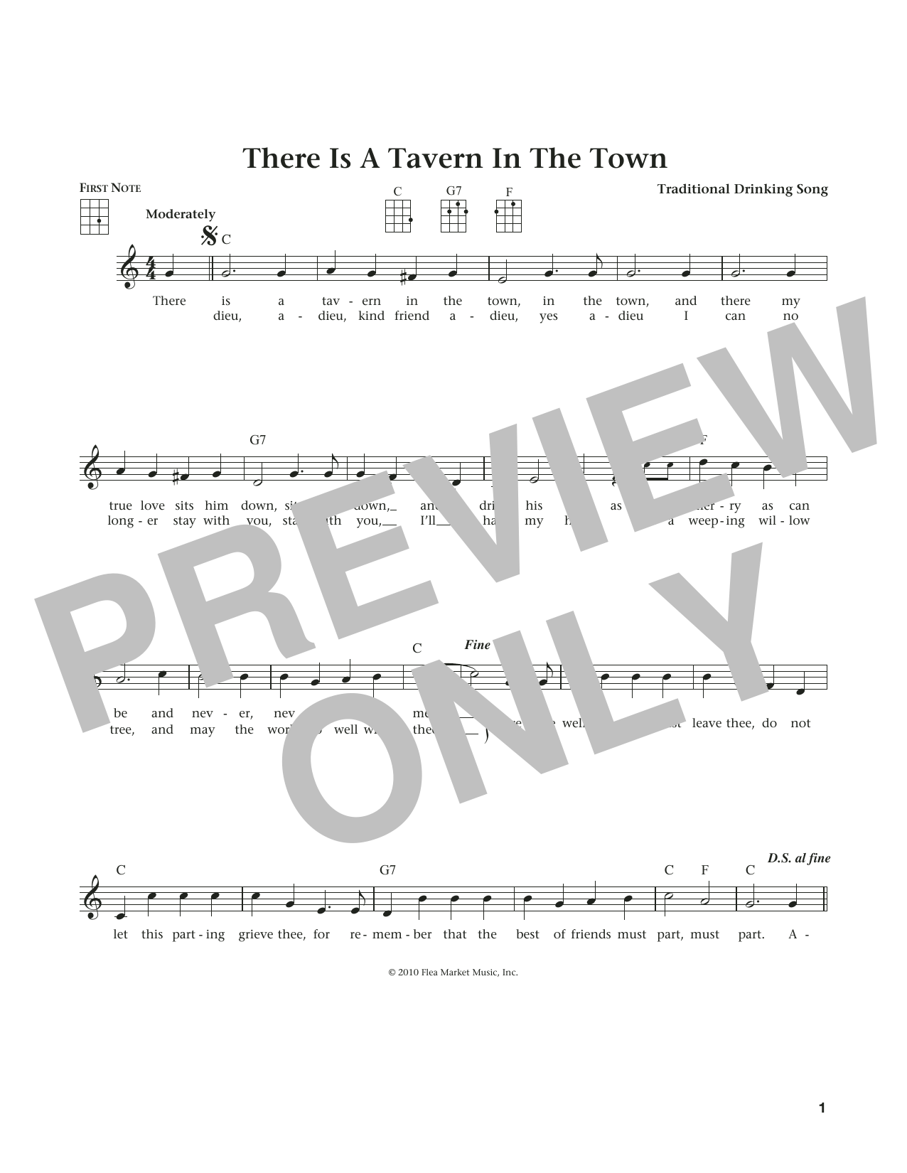 There Is A Tavern In The Town (from The Daily Ukulele) (arr. Liz and Jim Beloff) (Ukulele)