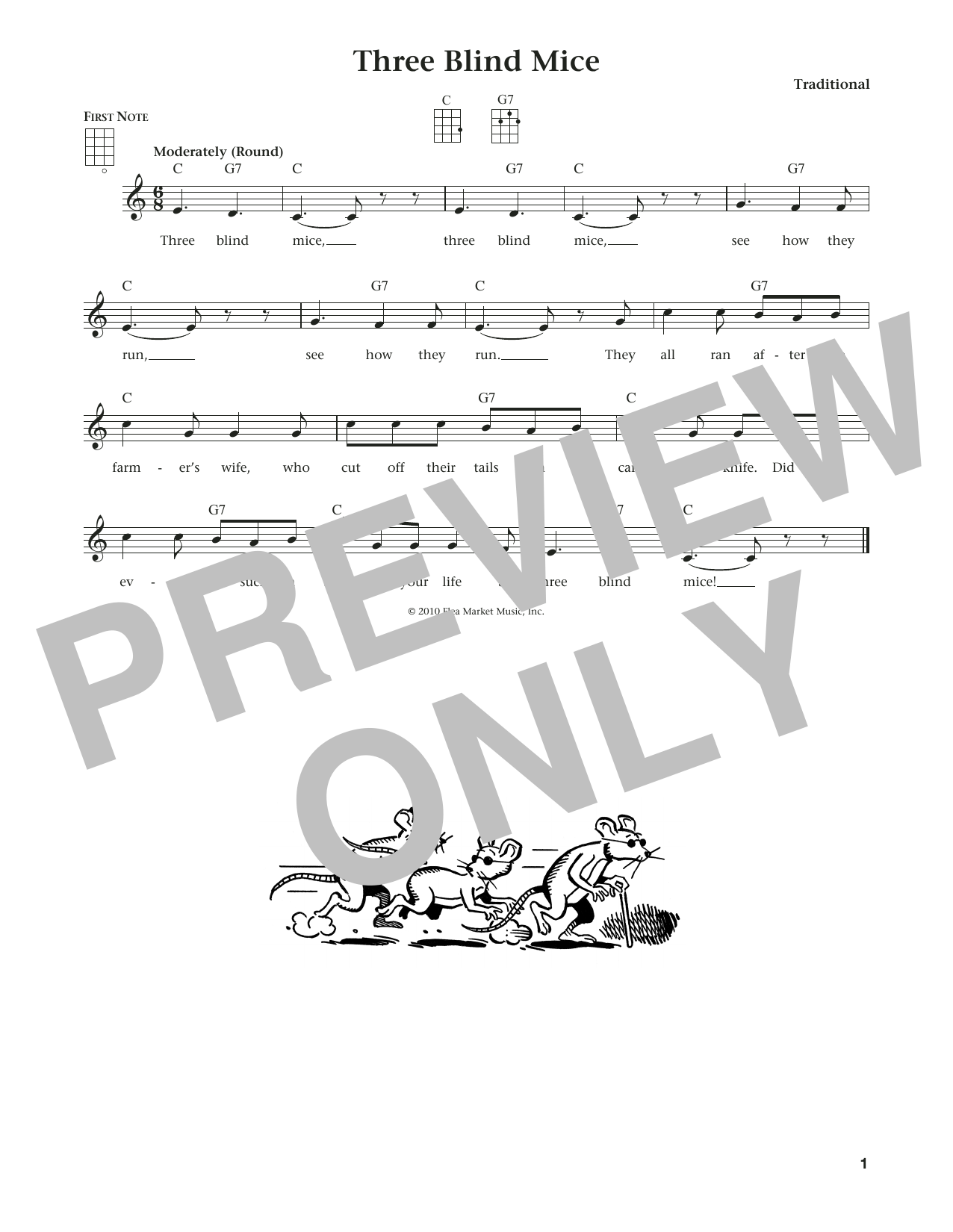 Three Blind Mice (from The Daily Ukulele) (arr. Liz and Jim Beloff) (Ukulele)