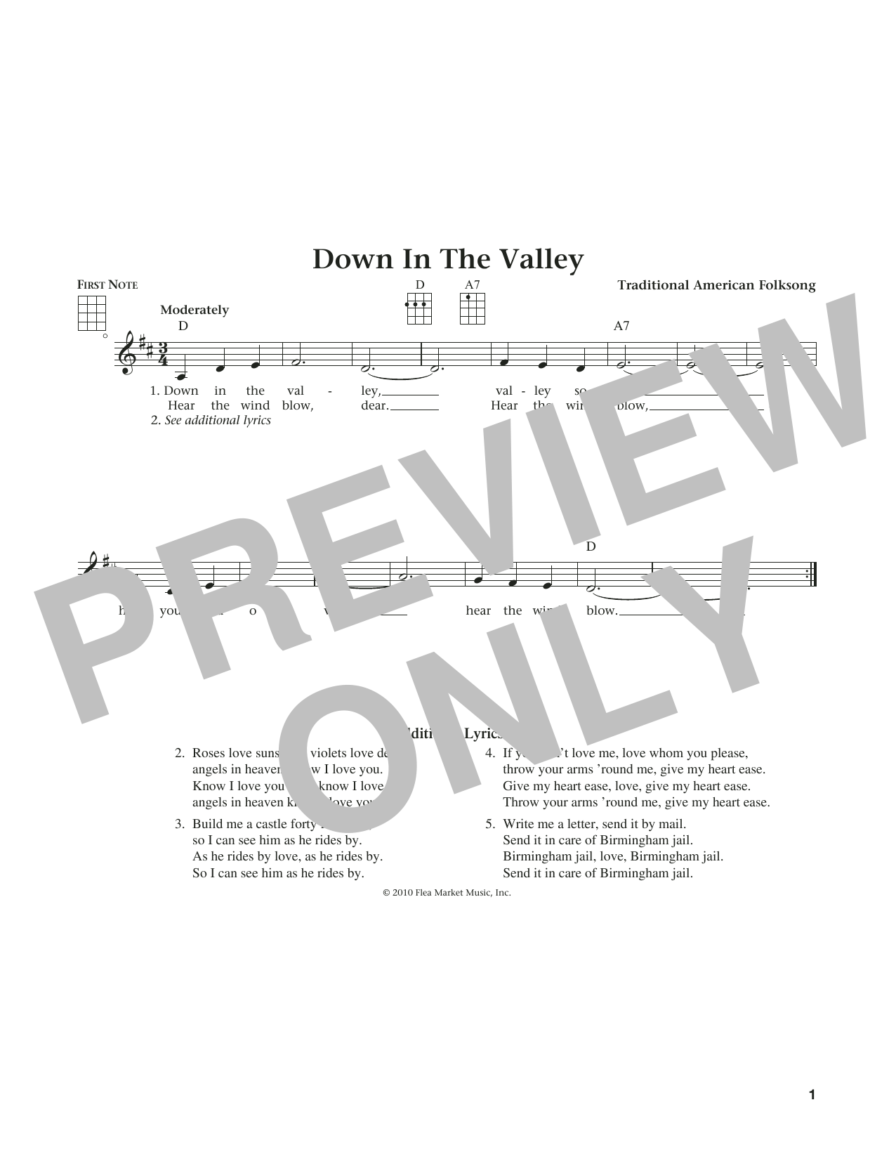 Down In The Valley (from The Daily Ukulele) (arr. Liz and Jim Beloff) (Ukulele)
