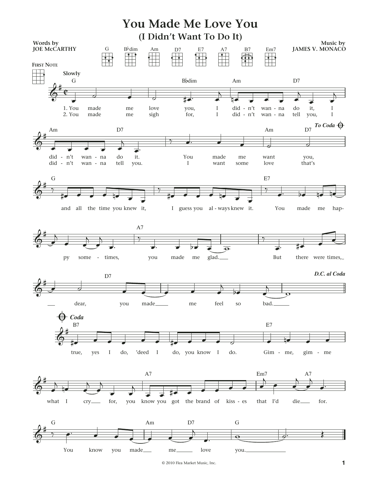 You Made Me Love You (I Didn't Want To Do It) (from The Daily Ukulele) (arr. Liz and Jim Beloff) (Ukulele)
