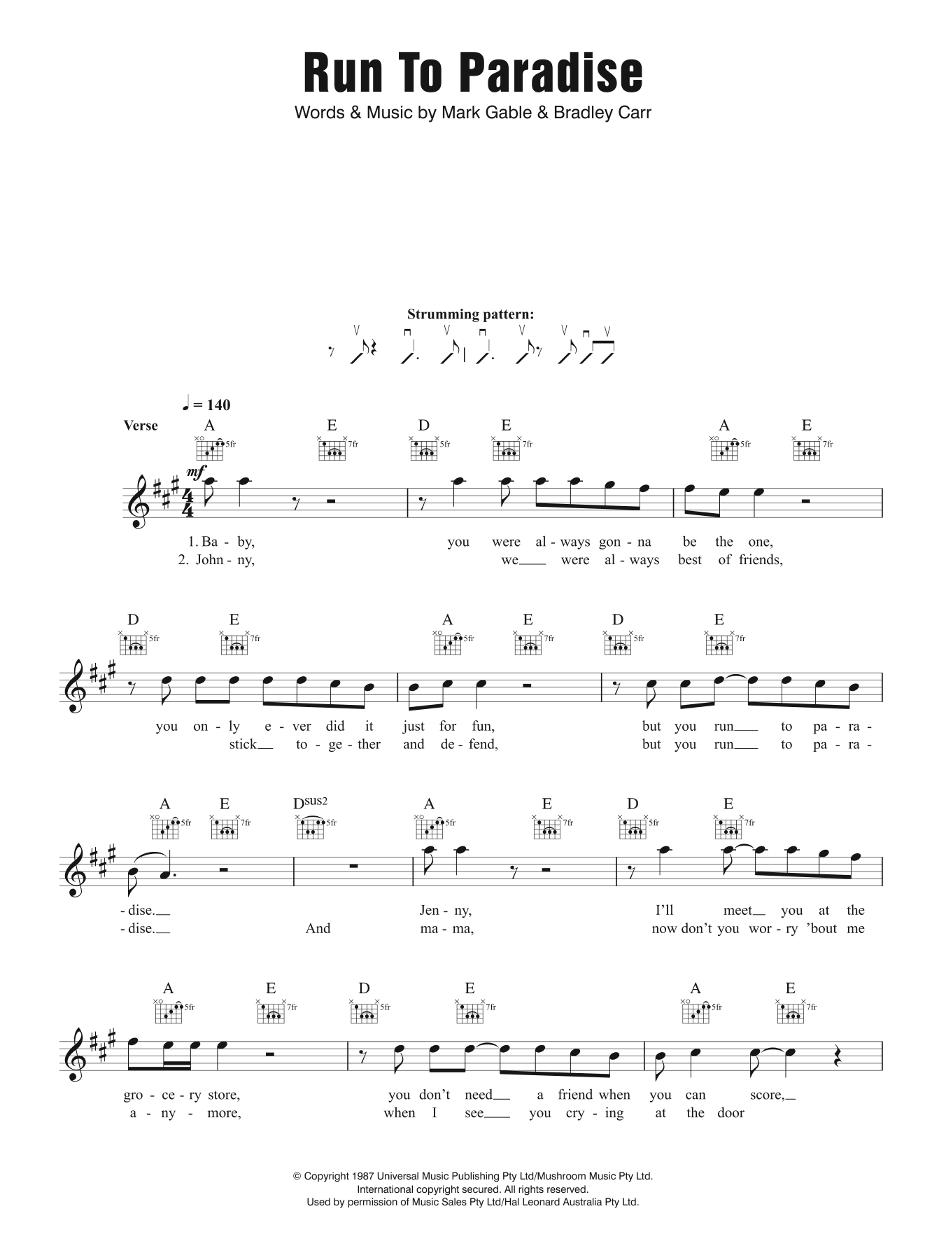 Run To Paradise Sheet Music
