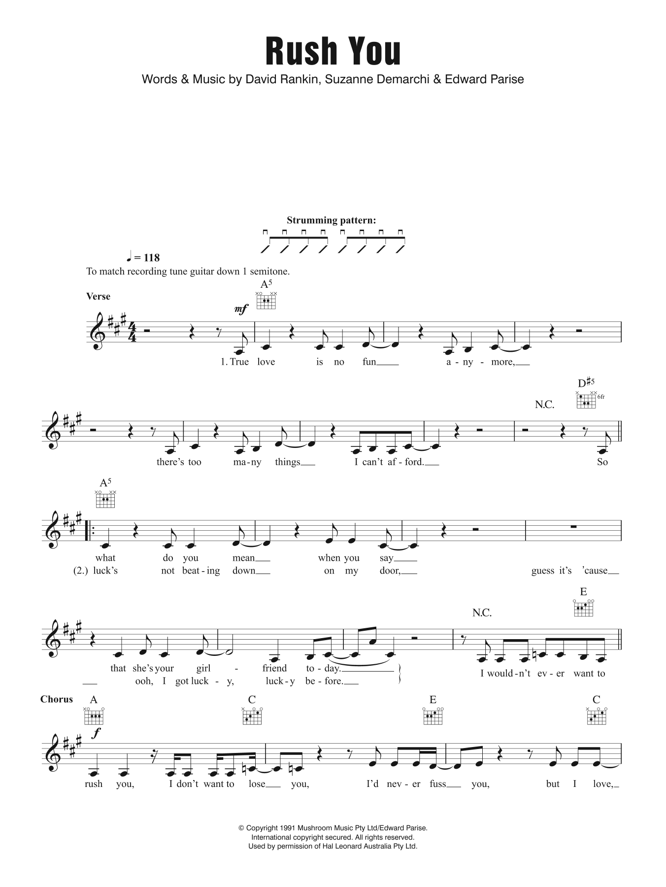 Rush You Sheet Music