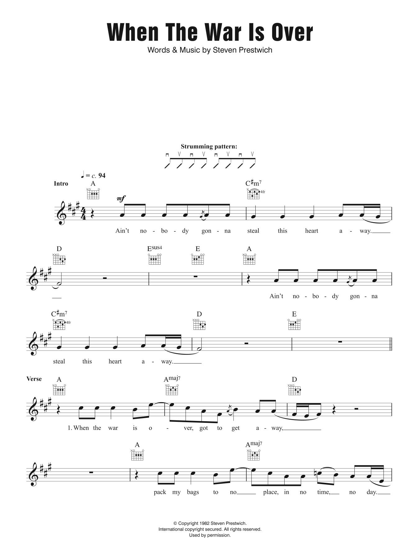 When The War Is Over Sheet Music