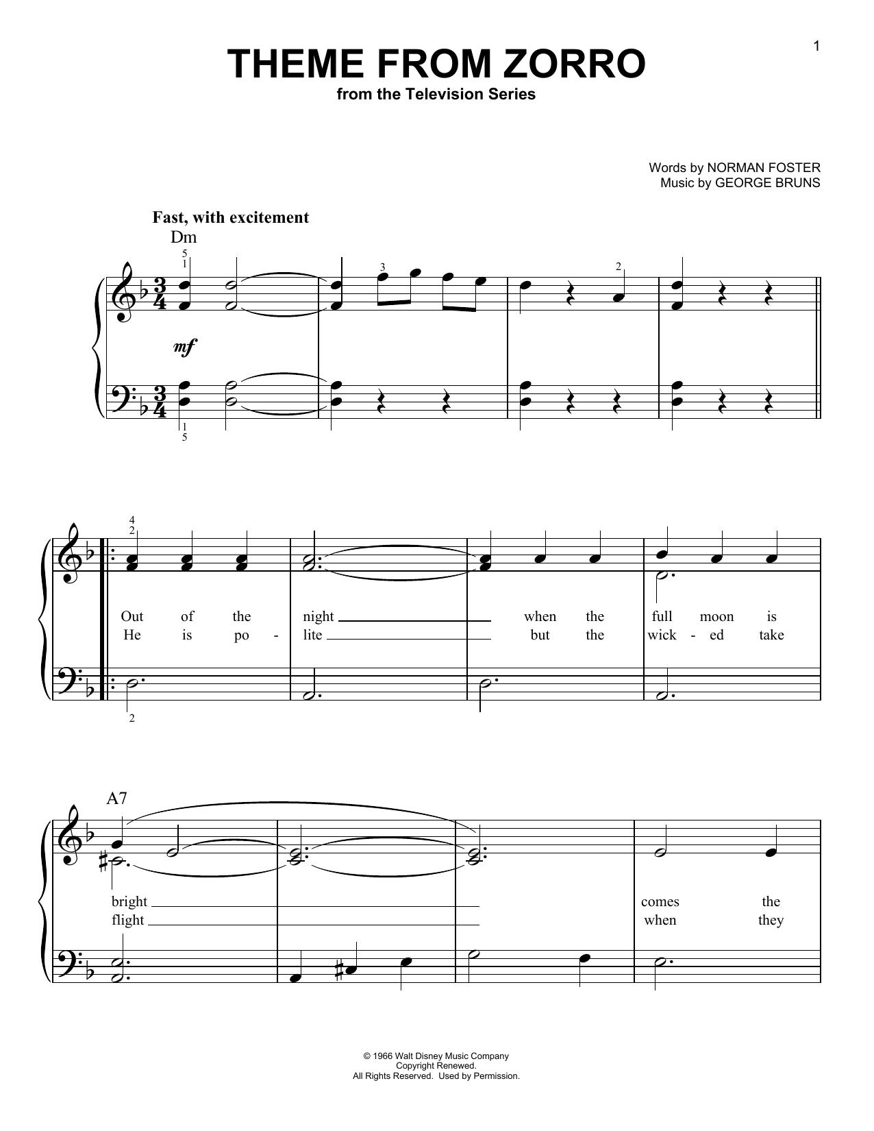 Partition piano Theme From Zorro de Norman Foster - Piano Facile