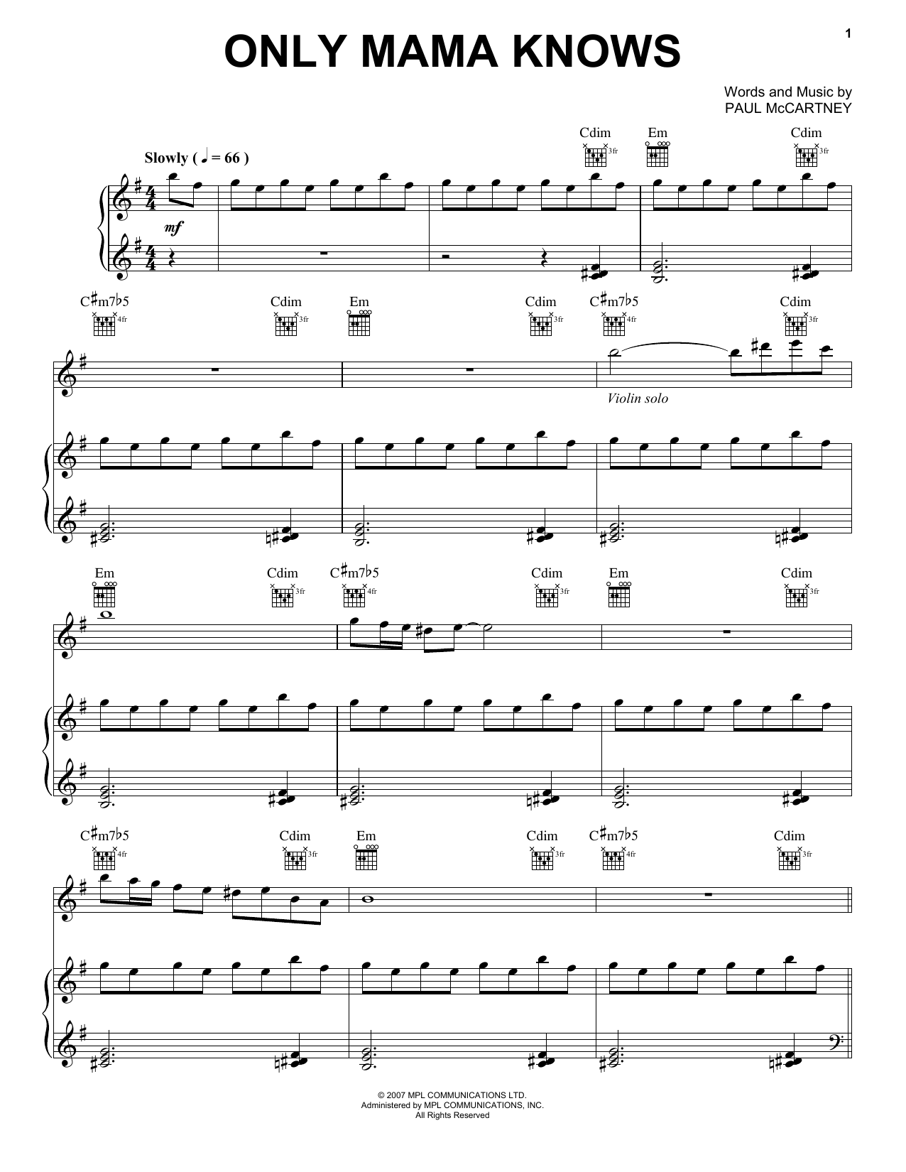 Only Mama Knows (Piano, Vocal & Guitar (Right-Hand Melody))