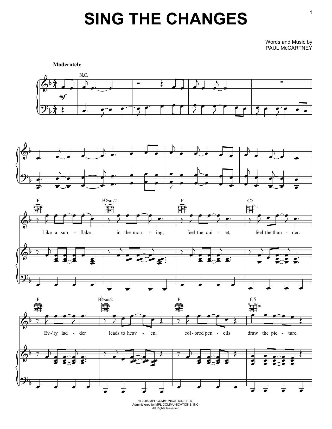 Sing The Changes (Piano, Vocal & Guitar (Right-Hand Melody))