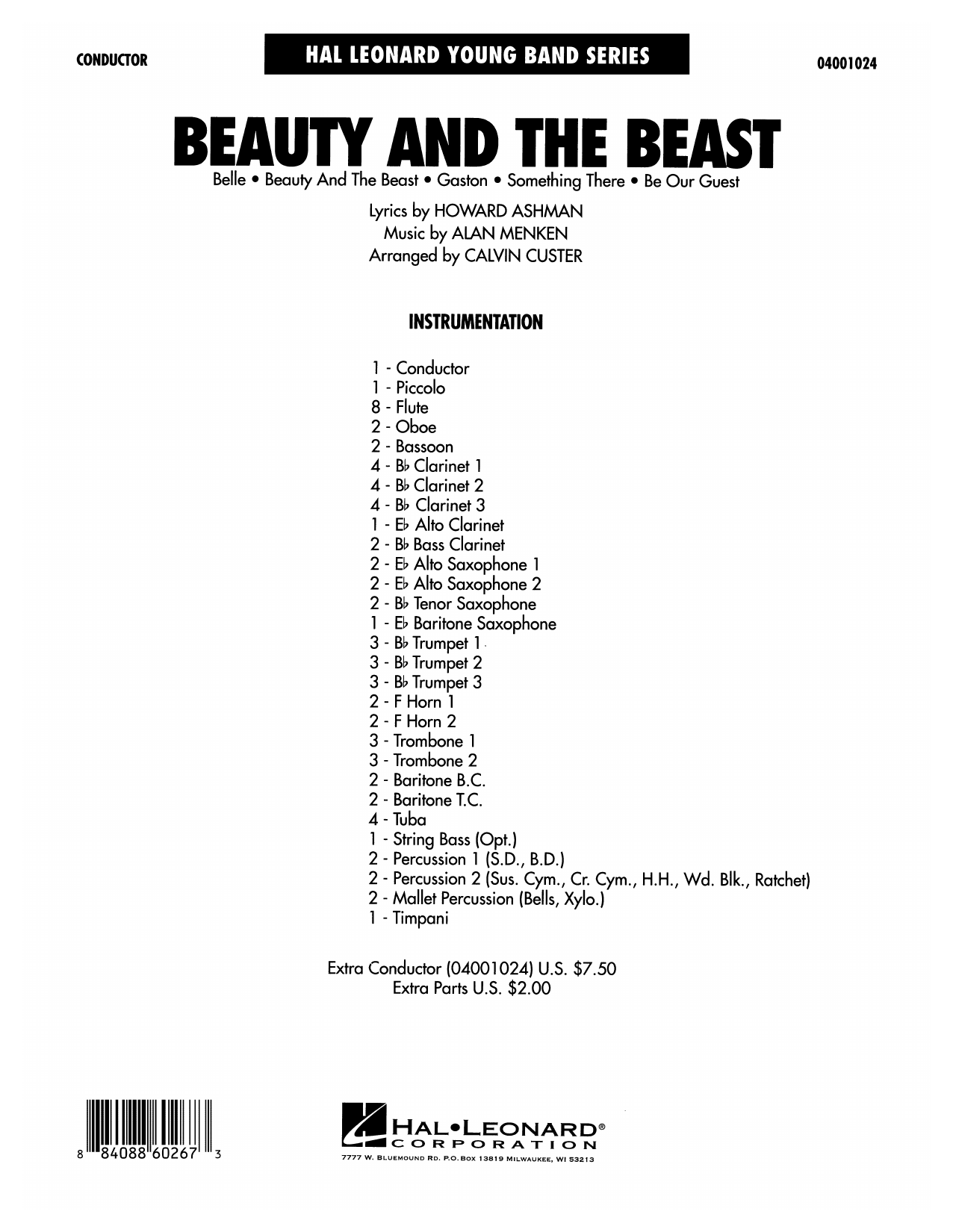 Beauty and the Beast (Medley) (COMPLETE) sheet music for concert band by Calvin Custer, Alan Menken and Howard Ashman. Score Image Preview.