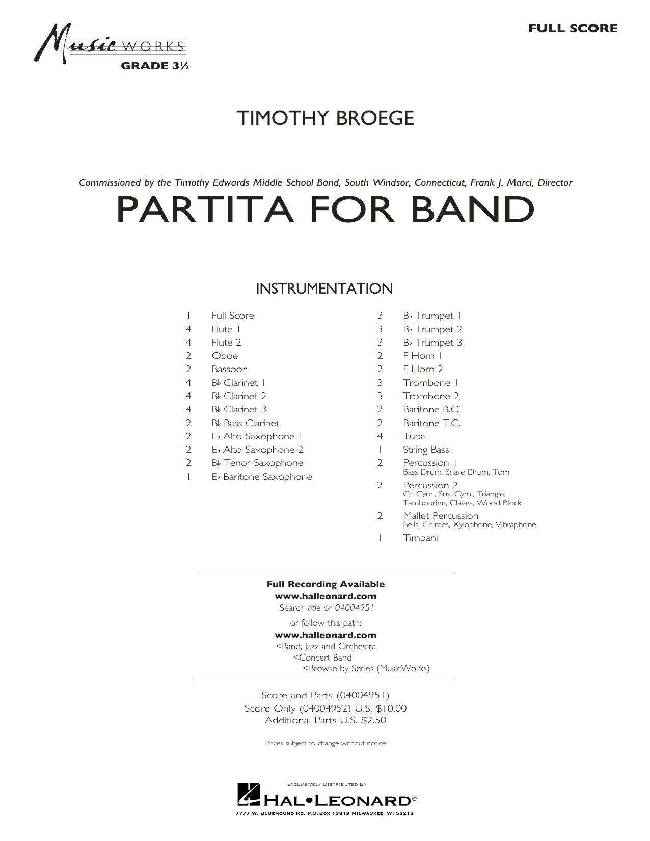 Partita for Band - Conductor Score (Full Score) Sheet Music
