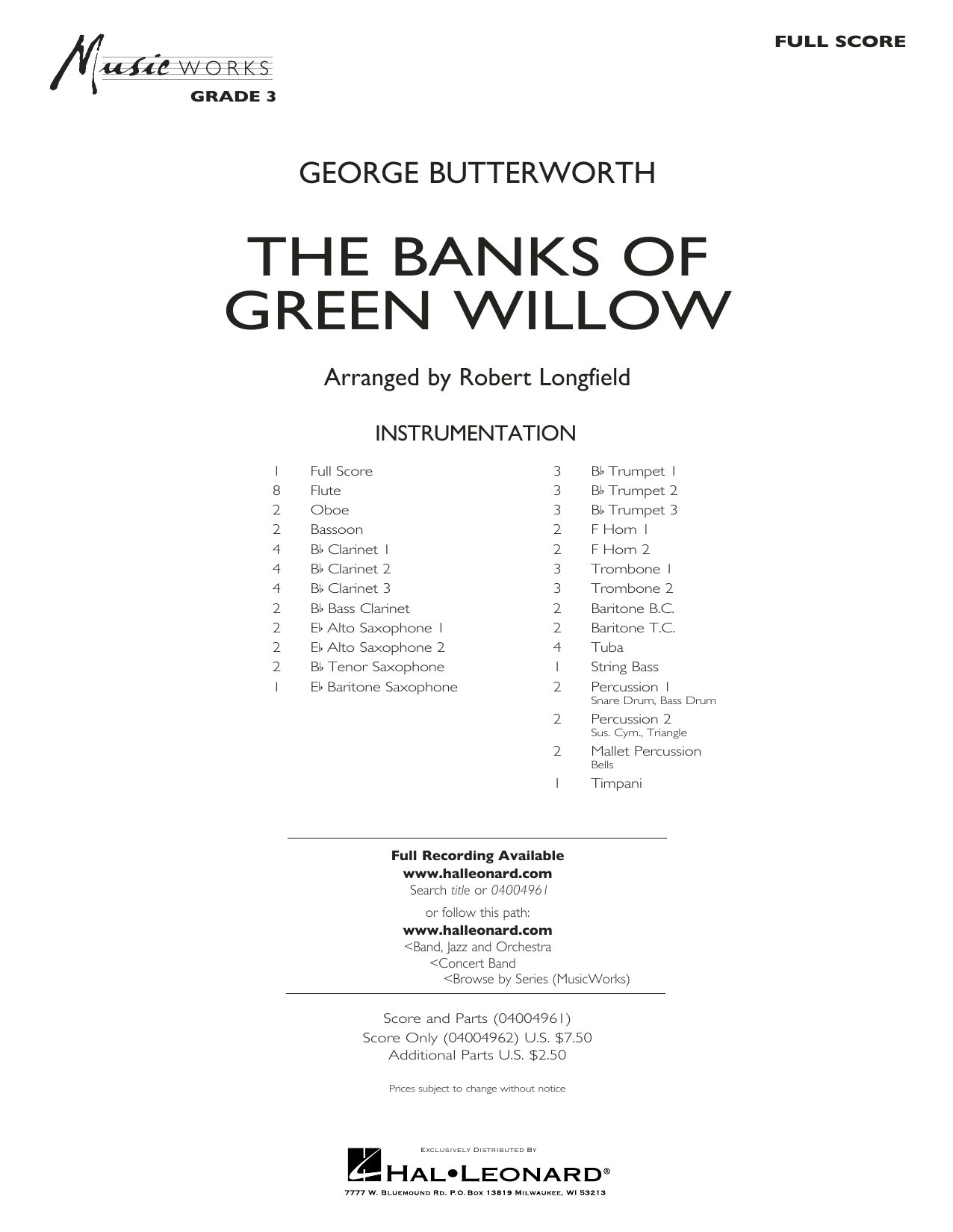 The Banks of Green Willow - Conductor Score (Full Score) Sheet Music