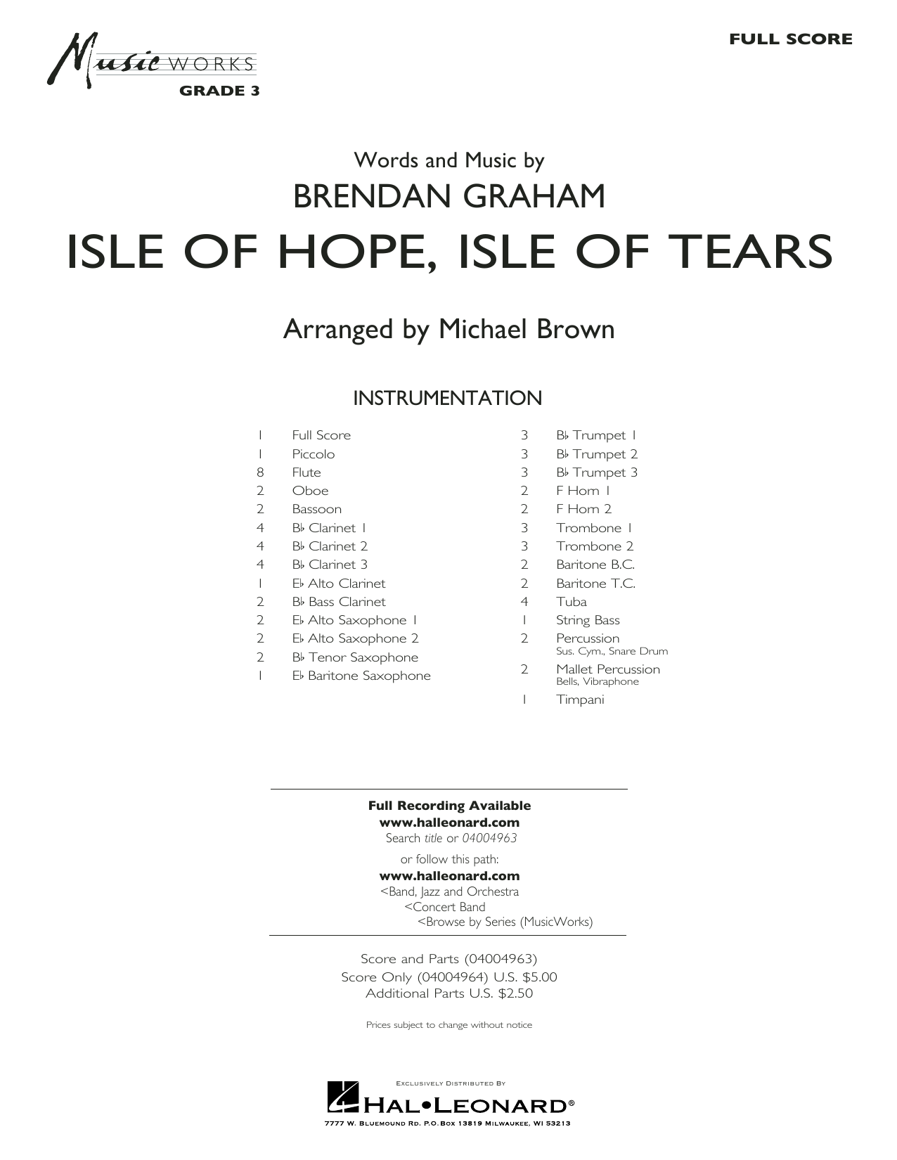 Isle of Hope, Isle of Tears - Conductor Score (Full Score) Partition Digitale