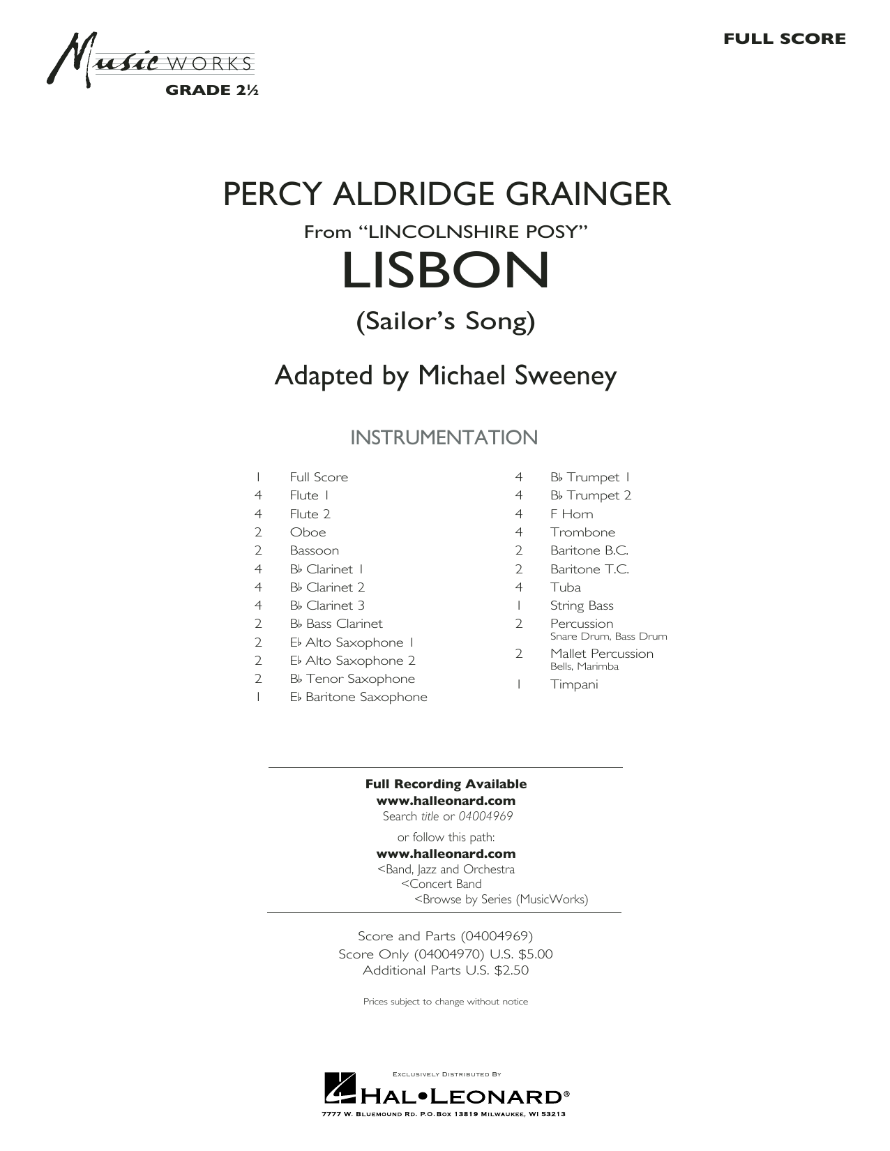Lisbon (from Lincolnshire Posy) - Conductor Score (Full Score) Partition Digitale