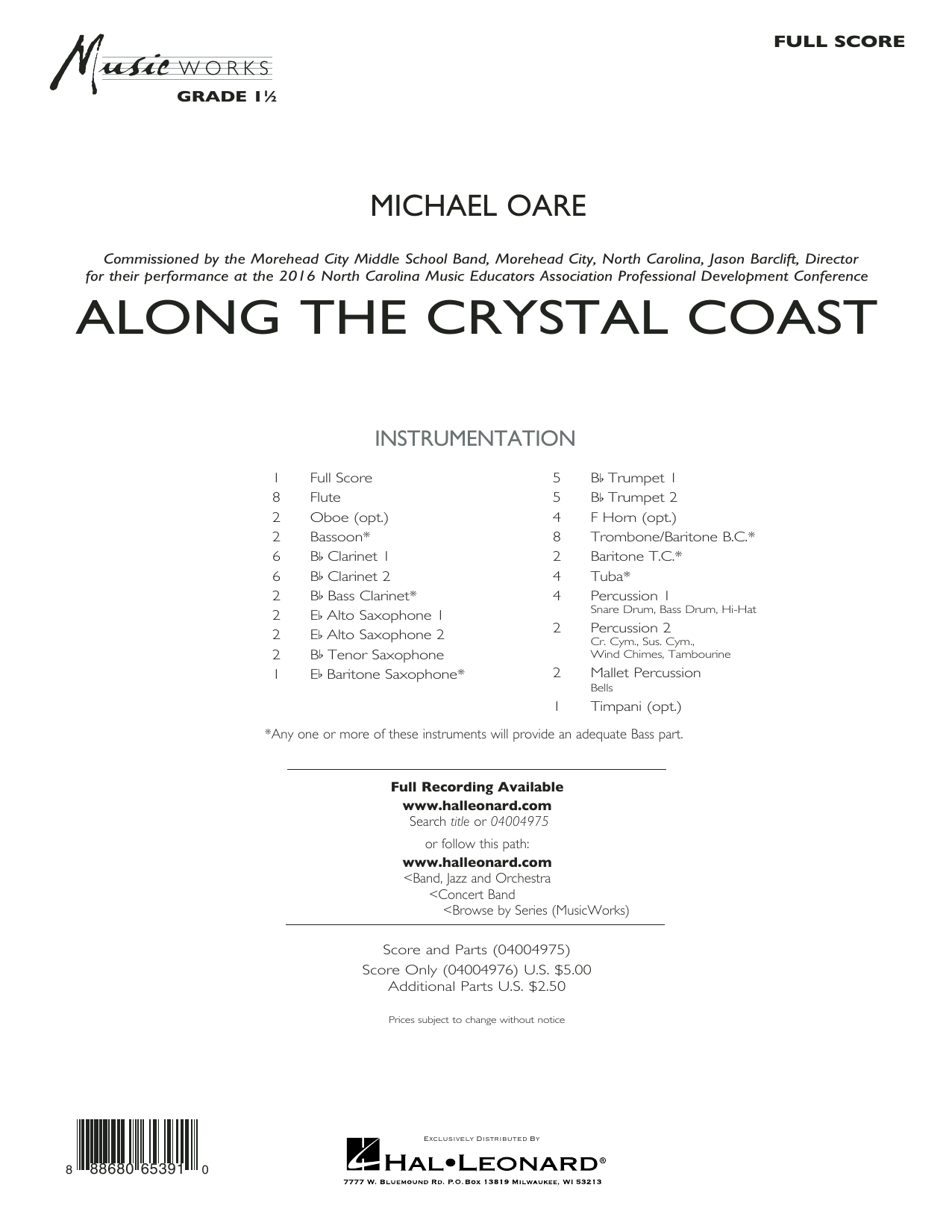 Along the Crystal Coast (COMPLETE) sheet music for concert band by Michael Oare. Score Image Preview.