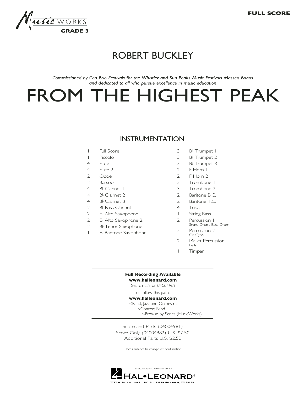 From the Highest Peak (COMPLETE) sheet music for concert band by Robert Buckley. Score Image Preview.