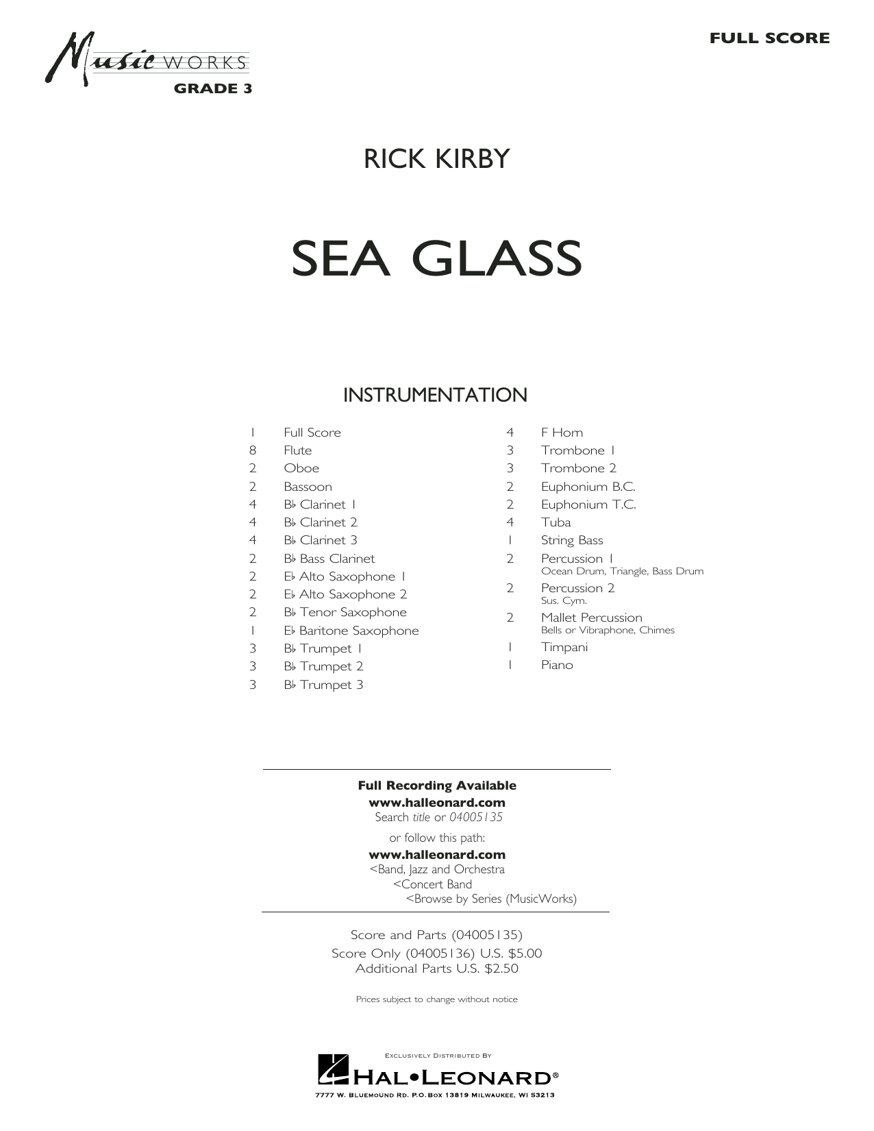 Sea Glass - Conductor Score (Full Score) (Concert Band)