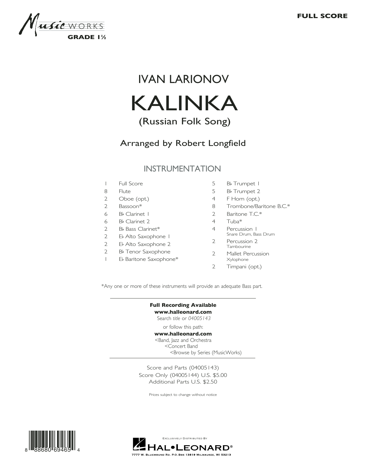 Kalinka (Russian Folk Song) - Conductor Score (Full Score) Sheet Music