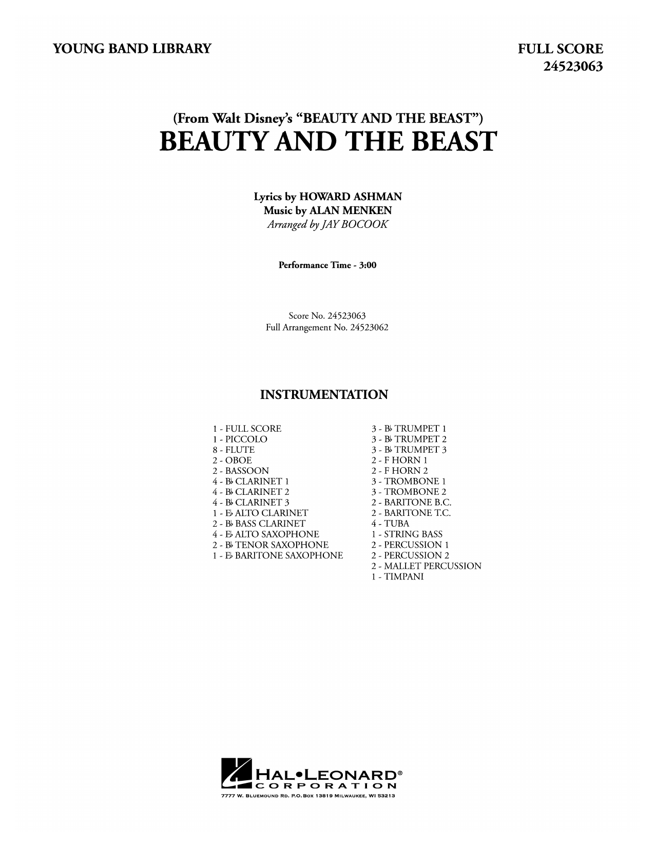 Beauty and the Beast (COMPLETE) sheet music for concert band by Jay Bocook, Alan Menken, Celine Dion & Peabo Bryson and Howard Ashman. Score Image Preview.