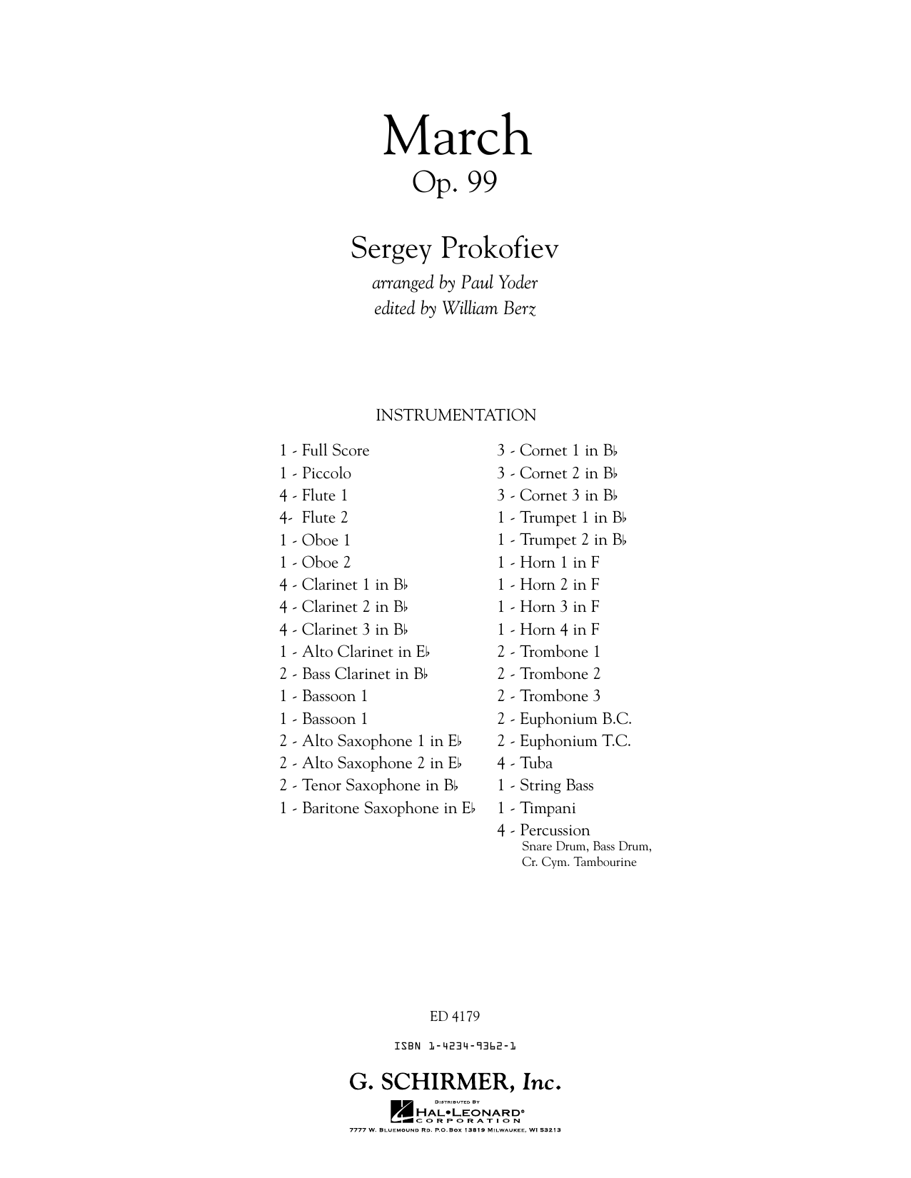March, Op. 99 - Conductor Score (Full Score) (Concert Band)