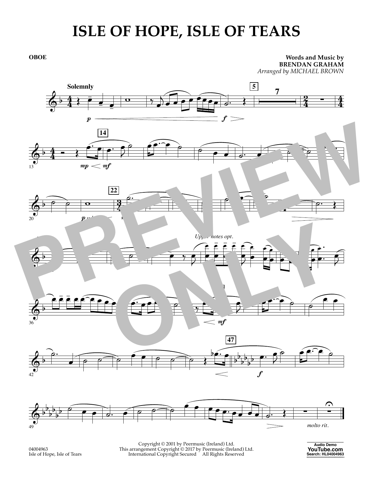 Isle of Hope, Isle of Tears - Oboe Sheet Music