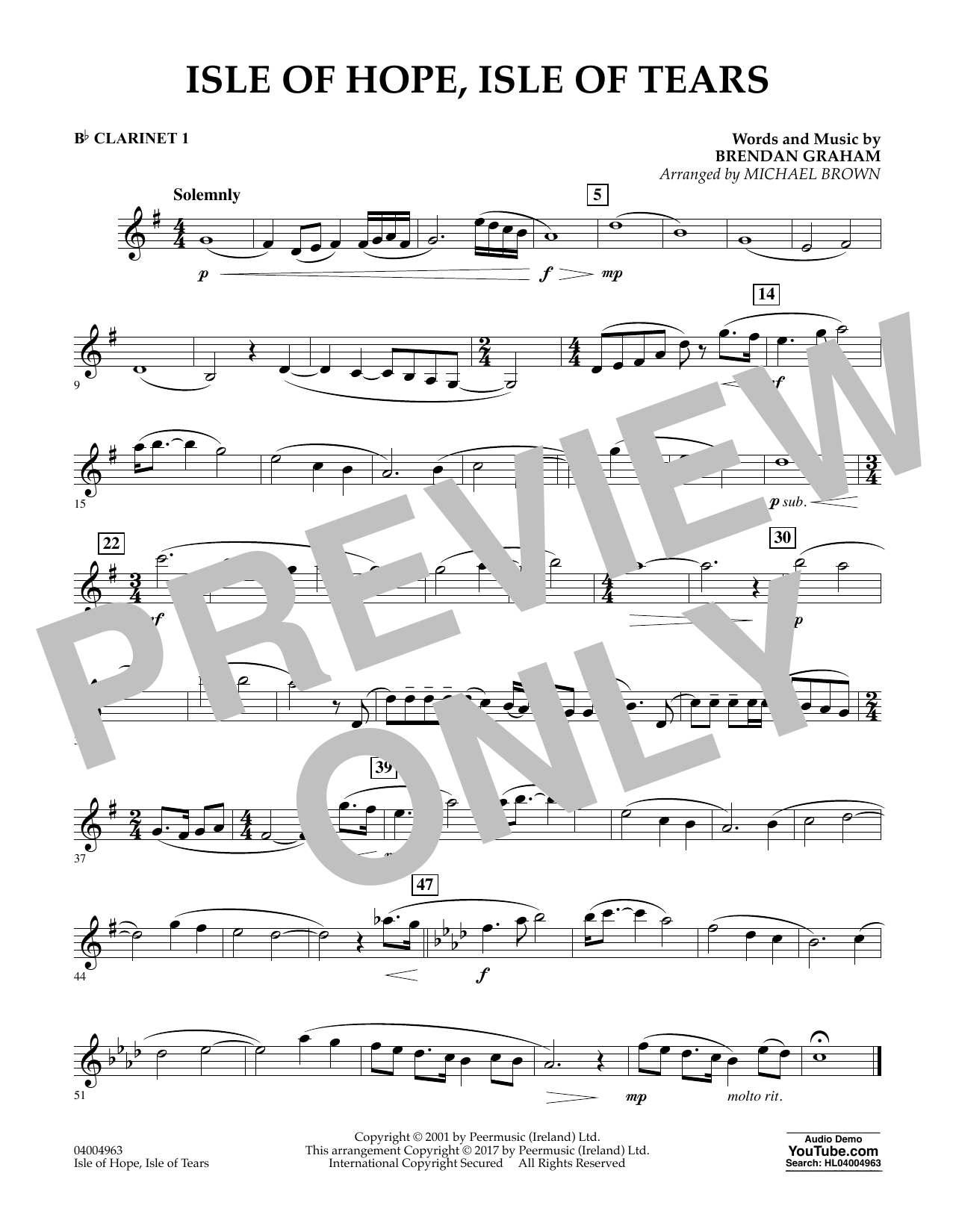 Isle of Hope, Isle of Tears - Bb Clarinet 1 Sheet Music