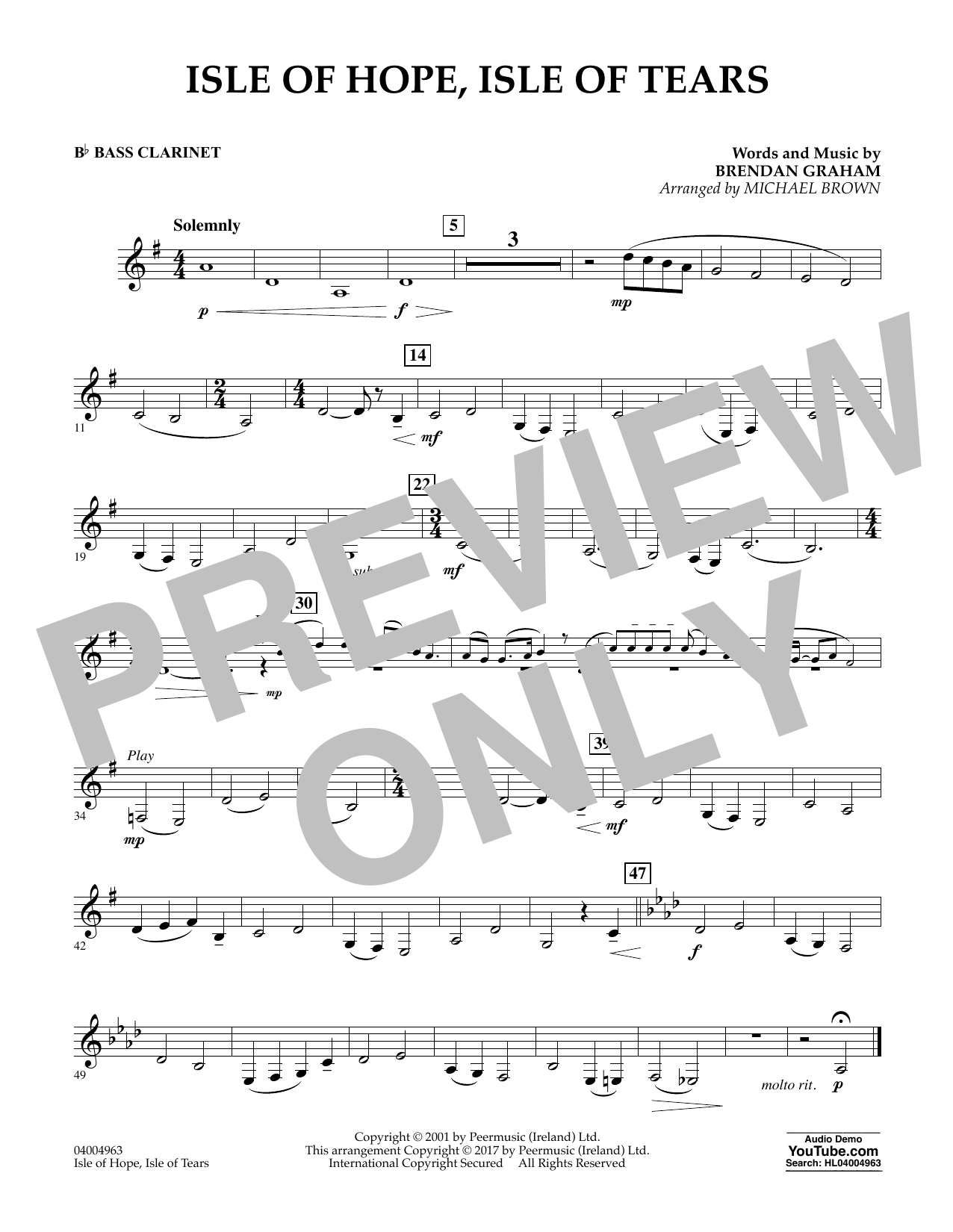 Isle of Hope, Isle of Tears - Bb Bass Clarinet Sheet Music