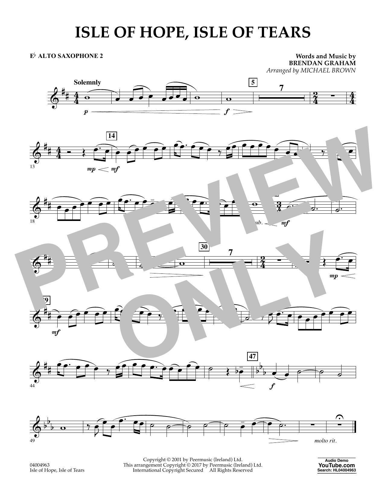 Isle of Hope, Isle of Tears - Eb Alto Saxophone 2 Sheet Music