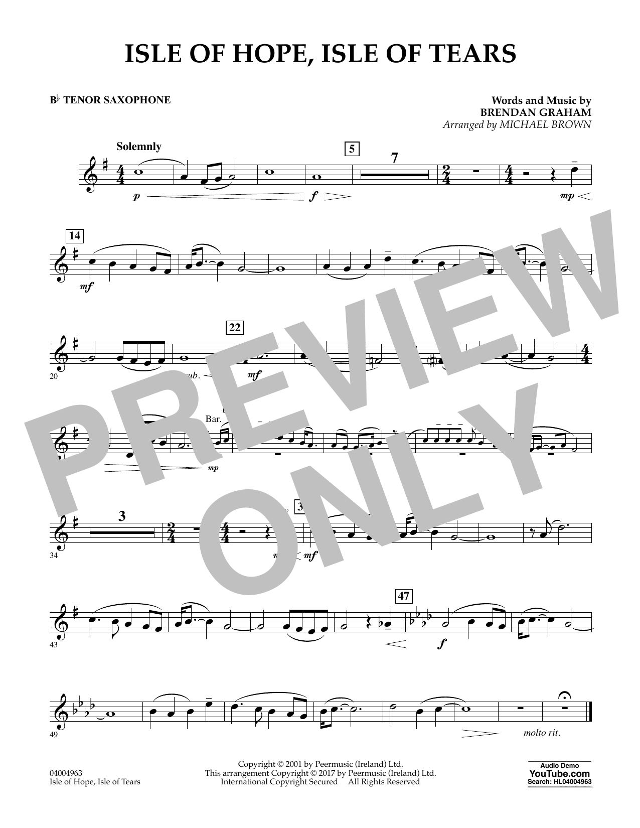 Isle of Hope, Isle of Tears - Bb Tenor Saxophone Sheet Music