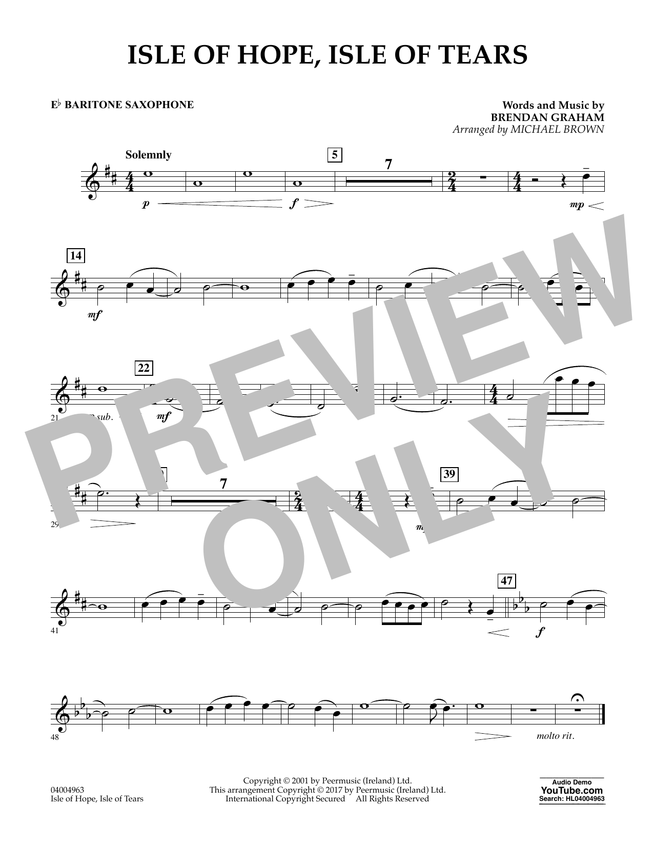 Isle of Hope, Isle of Tears - Eb Baritone Saxophone Sheet Music