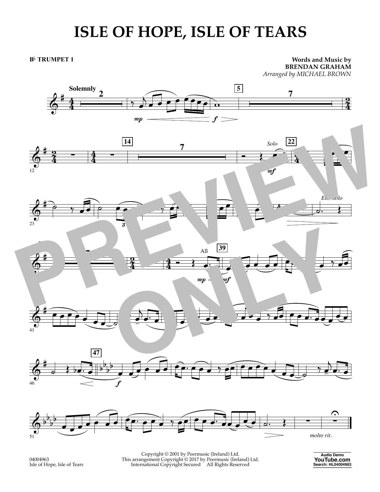 Isle of Hope, Isle of Tears - Bb Trumpet 1 Sheet Music