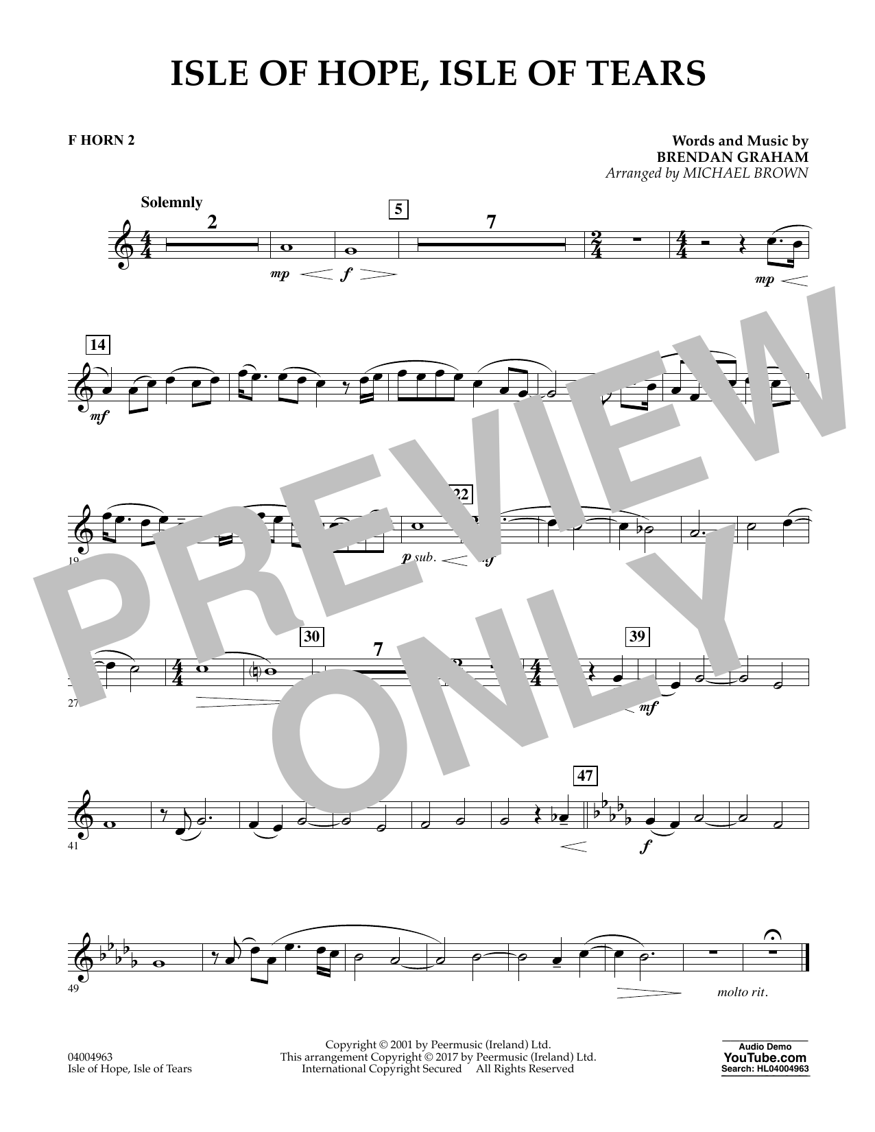 Isle of Hope, Isle of Tears - F Horn 2 Sheet Music