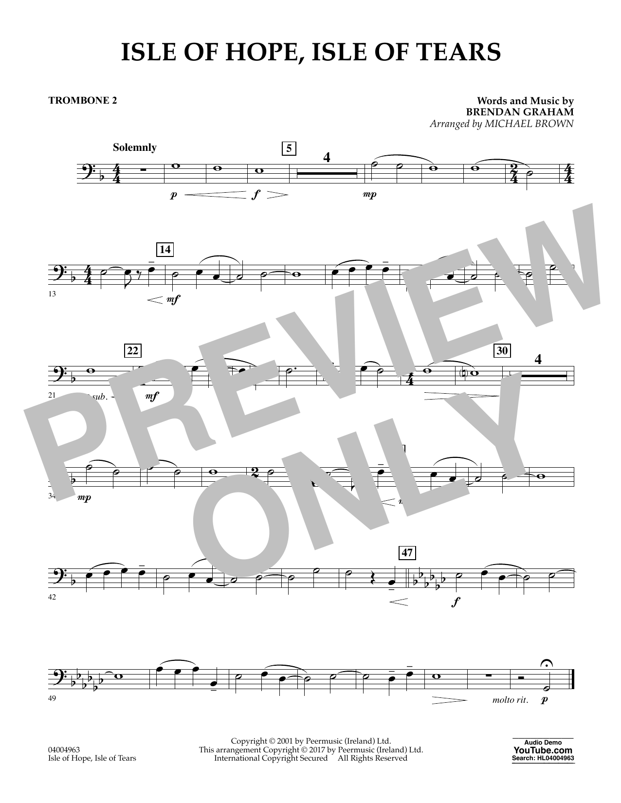 Isle of Hope, Isle of Tears - Trombone 2 Sheet Music
