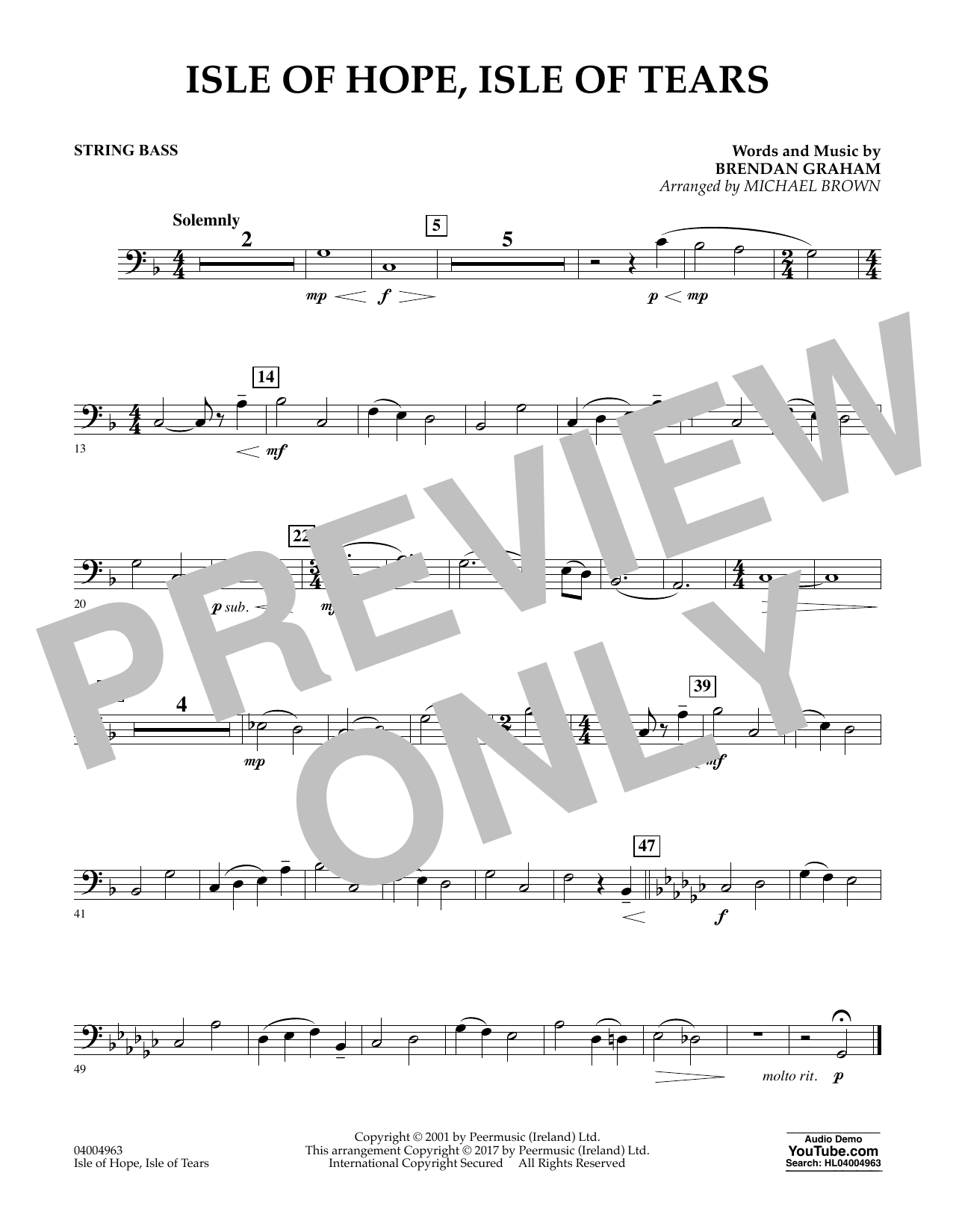 Isle of Hope, Isle of Tears - String Bass Sheet Music